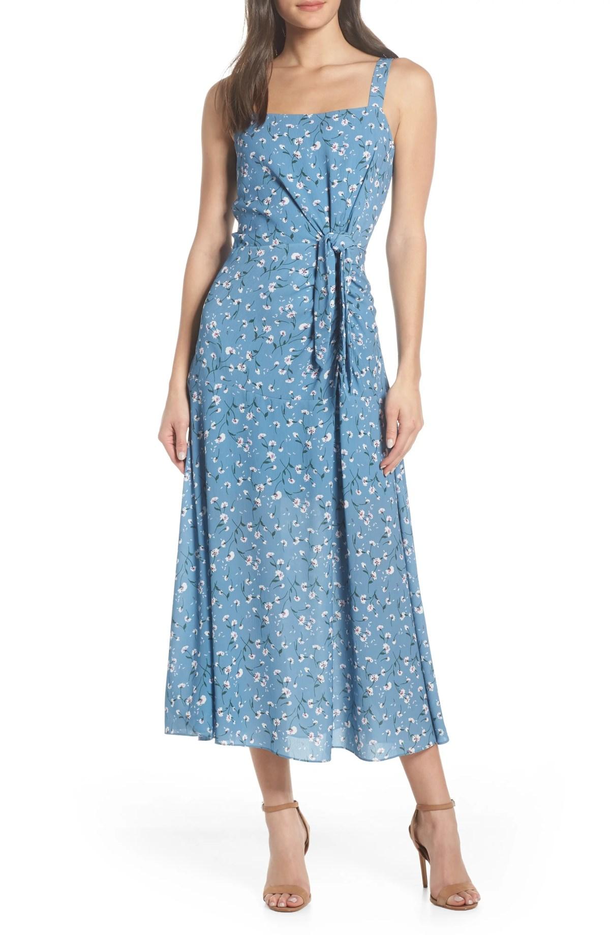 CHELSEA28 Floral Print Maxi Dress, Main, color, BLUE FLORAL
