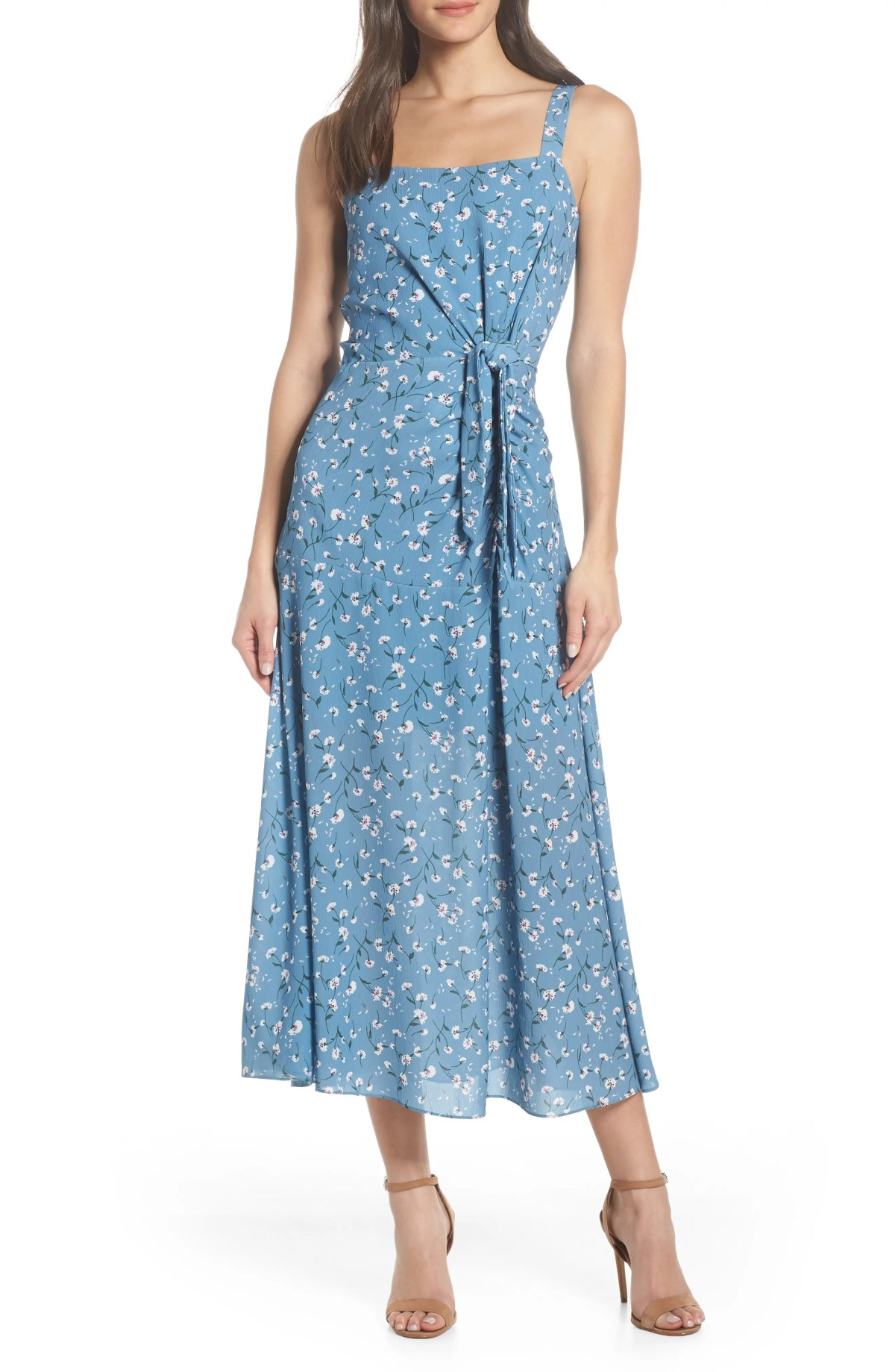 CHELSEA28 Floral Print Maxi Dress, Main, color, BLUE FLORAL