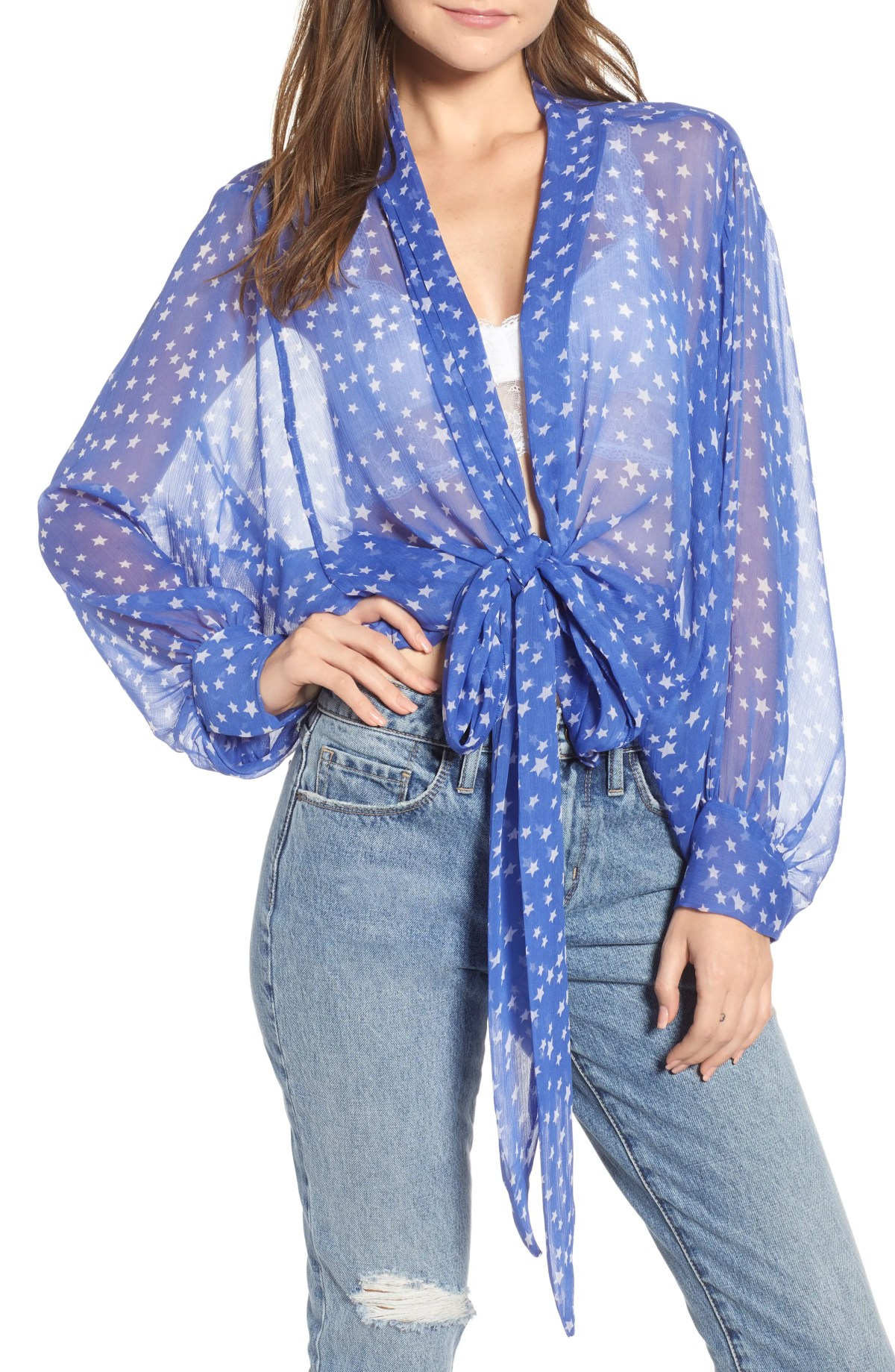 FREE PEOPLE Star Dazed Scarf Wrap, Main, color, BLUE
