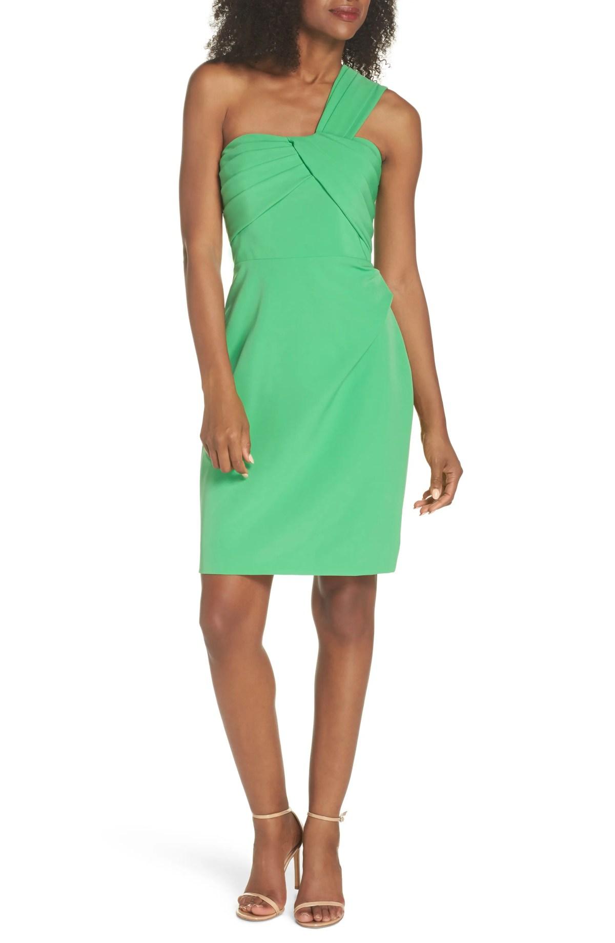 VINCE CAMUTO Laguna One-Shoulder Scuba Dress, Main, color, GREEN