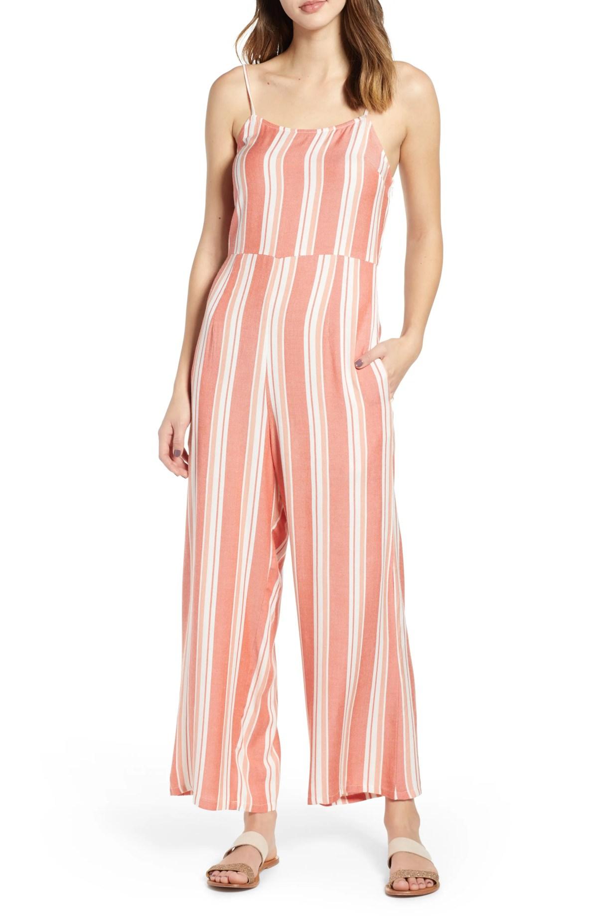 LIRA CLOTHING Hop Along Stripe Jumpsuit, Main, color, RED OCHRE