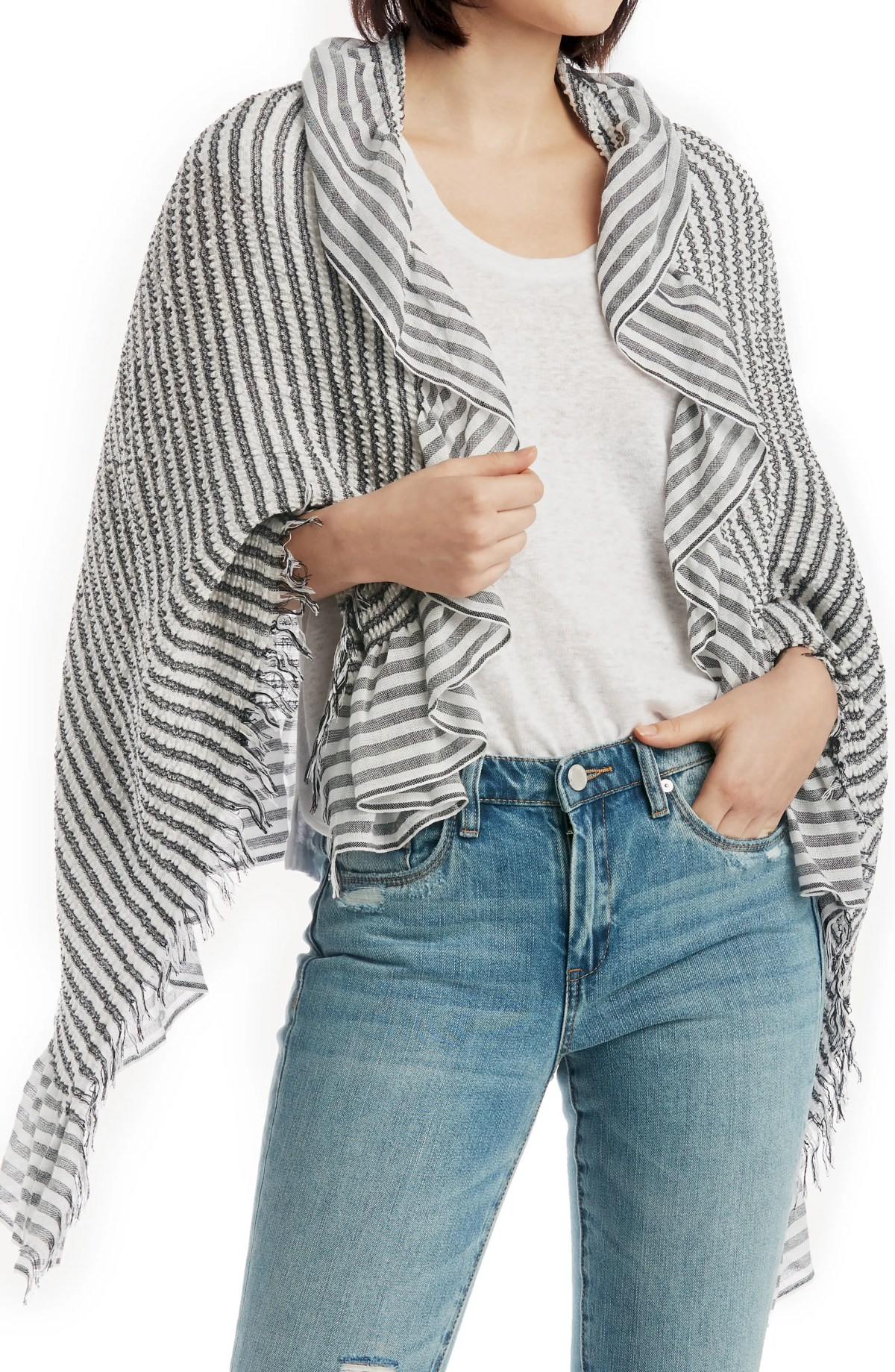 SOLE SOCIETY Oversized Stripe Wrap, Main, color, BLACK WHITE STRIPE