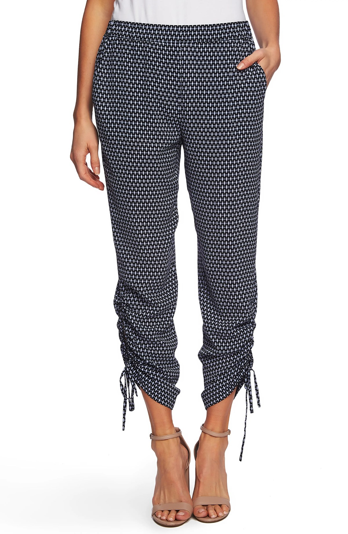 CECE Garden Geo Ruched Ankle Pants, Main, color, CAVIAR