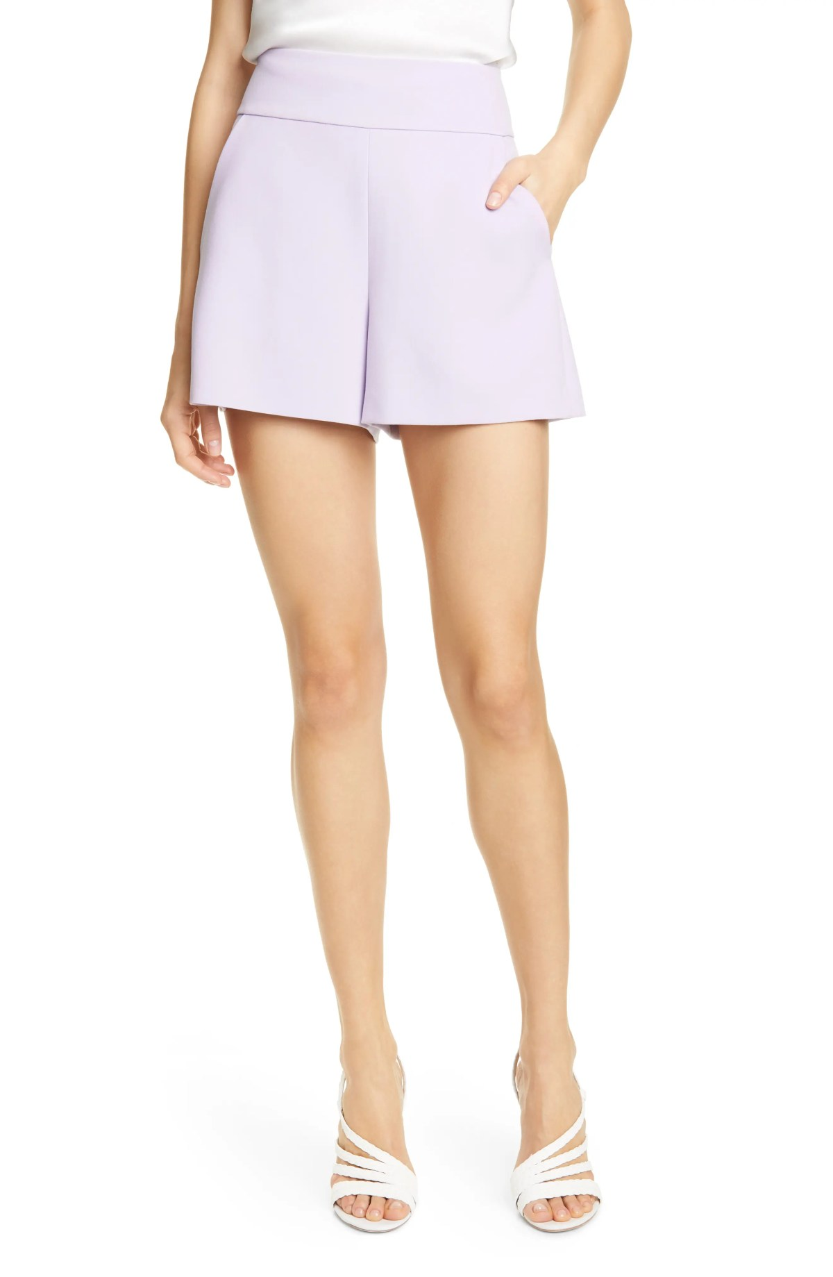 ALICE + OLIVIA Donald High Waist Flared Shorts, Main, color, ORCHID
