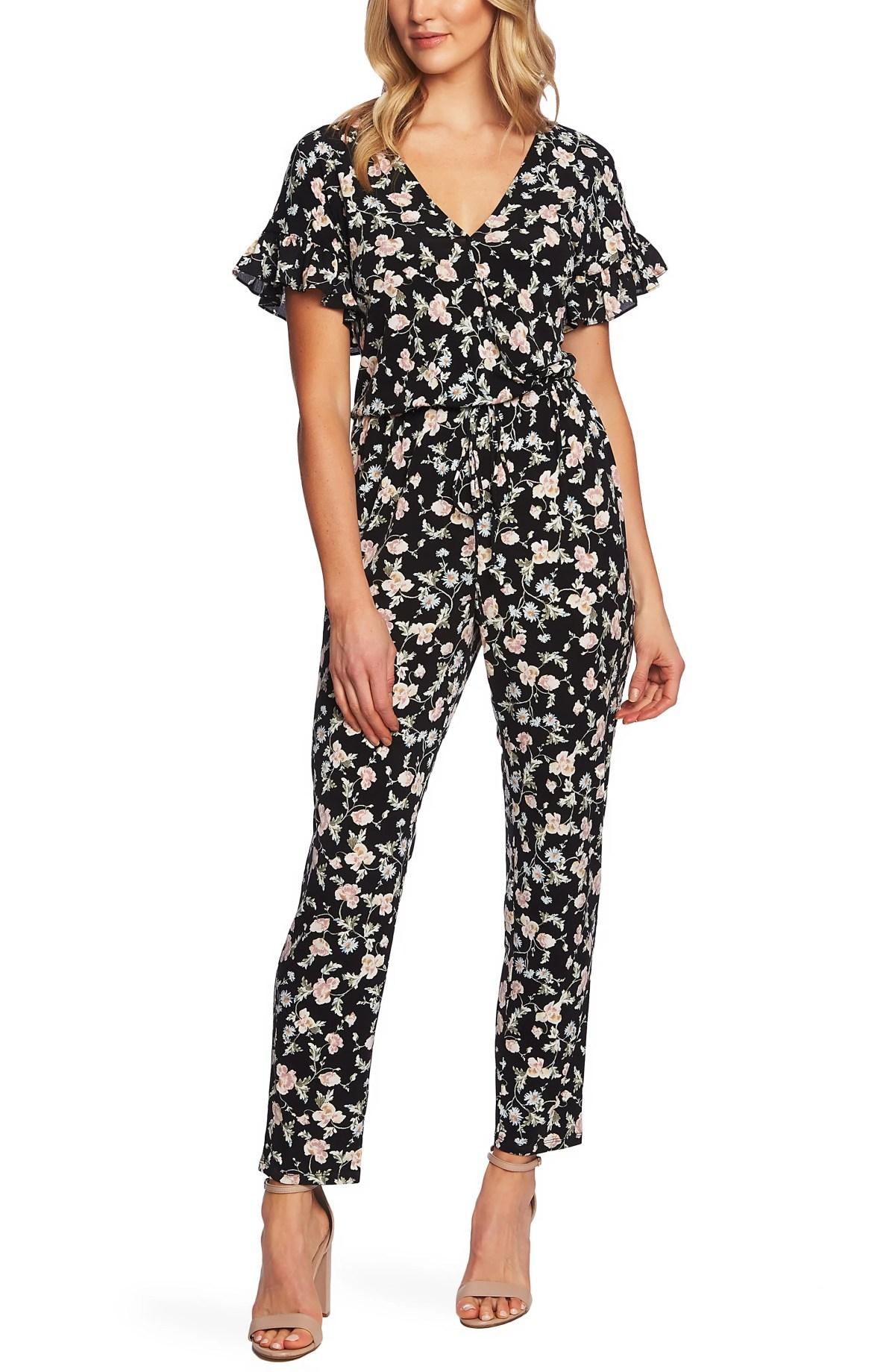 CECE Duchess Floral Print Faux Wrap Jumpsuit, Main, color, RICH BLACK