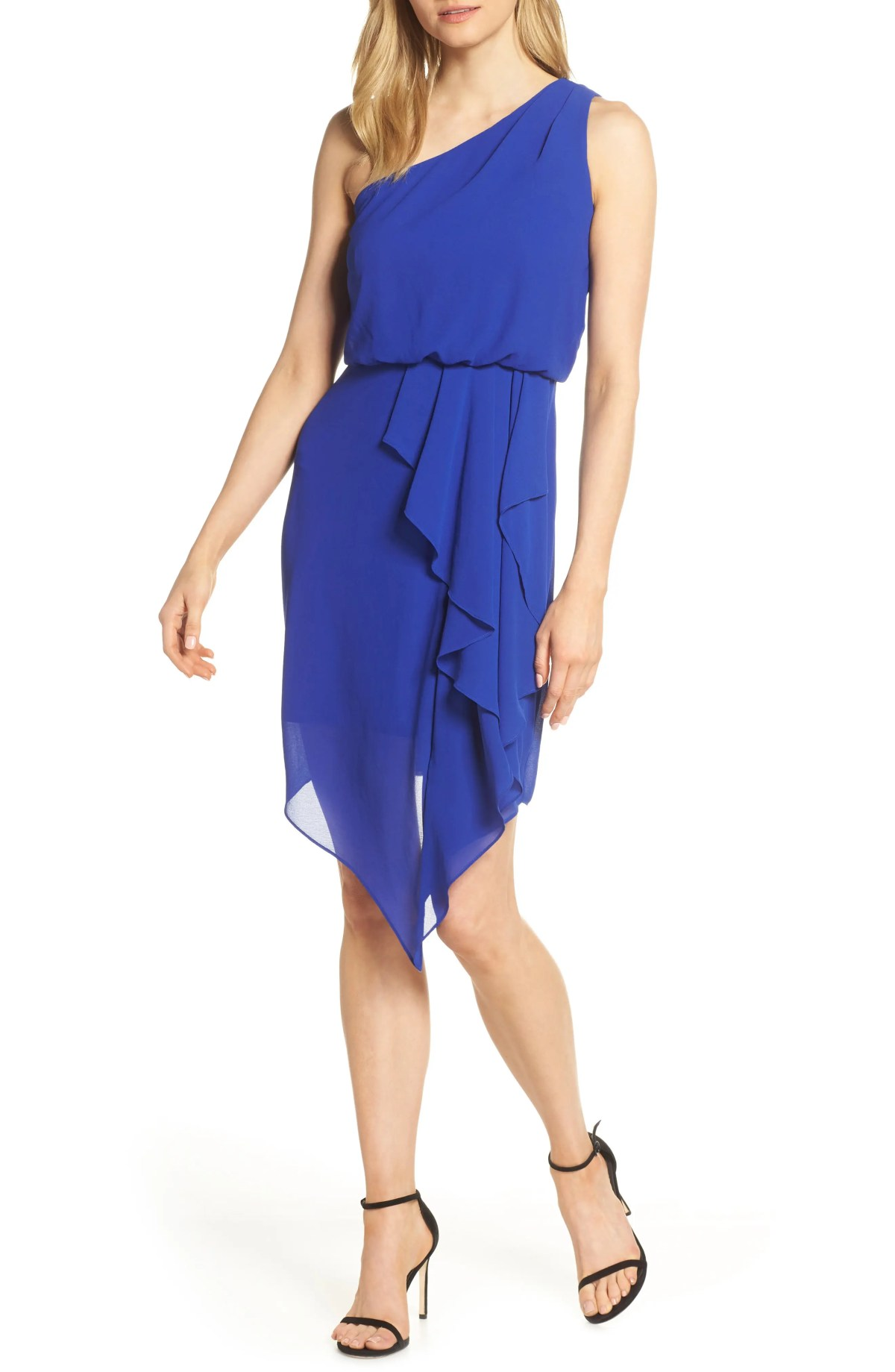 VINCE CAMUTO One Shoulder Ruffle Dress, Main, color, COBALT