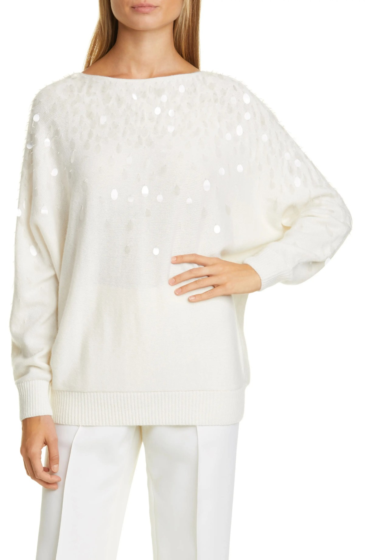 LAFAYETTE 148 NEW YORK Paillette Detail Cashmere Sweater, Main, color, CLOUD