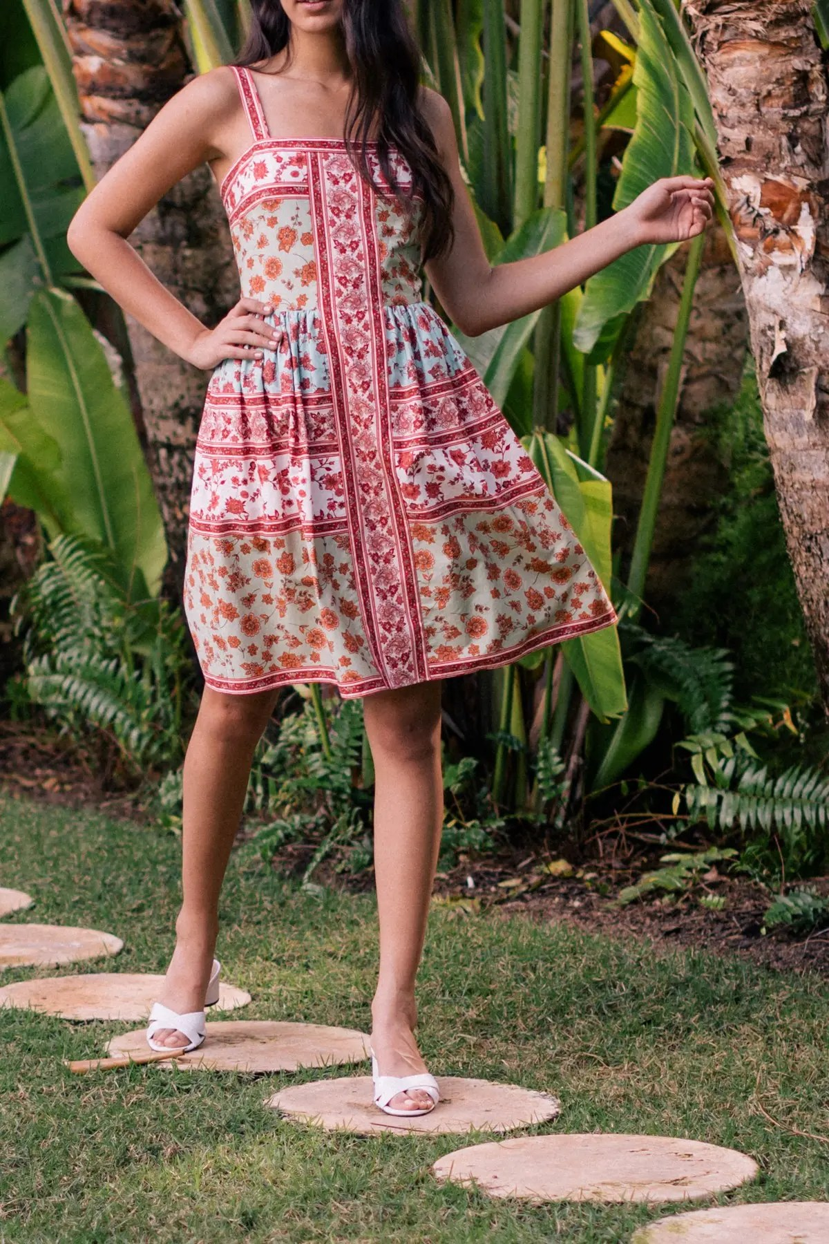 printed fit flare dress
