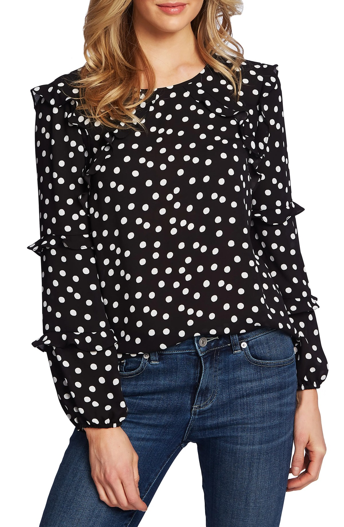 CECE Galactic Dot Tiered Ruffle Sleeve Blouse, Main, color, RICH BLACK