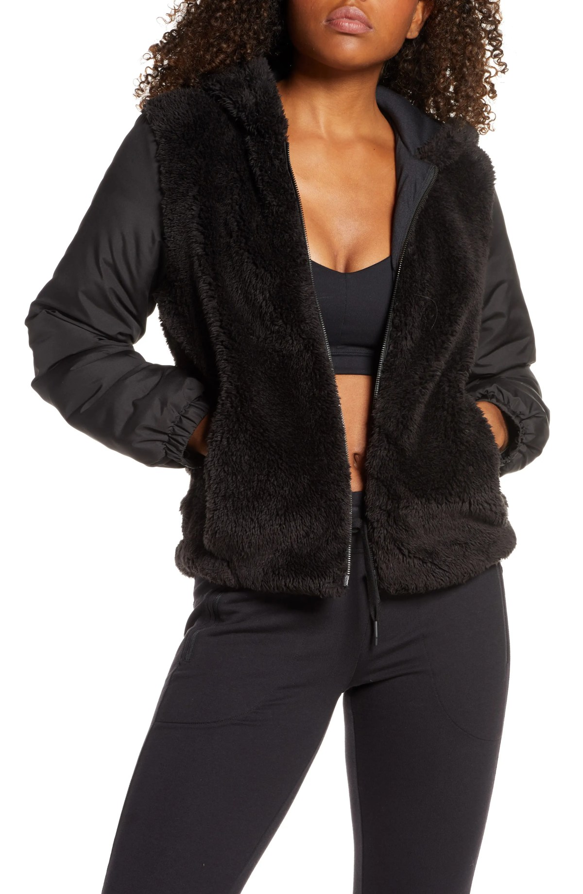 ZELLA Hooded Faux Shearling Bomber Jacket, Main, color, BLACK