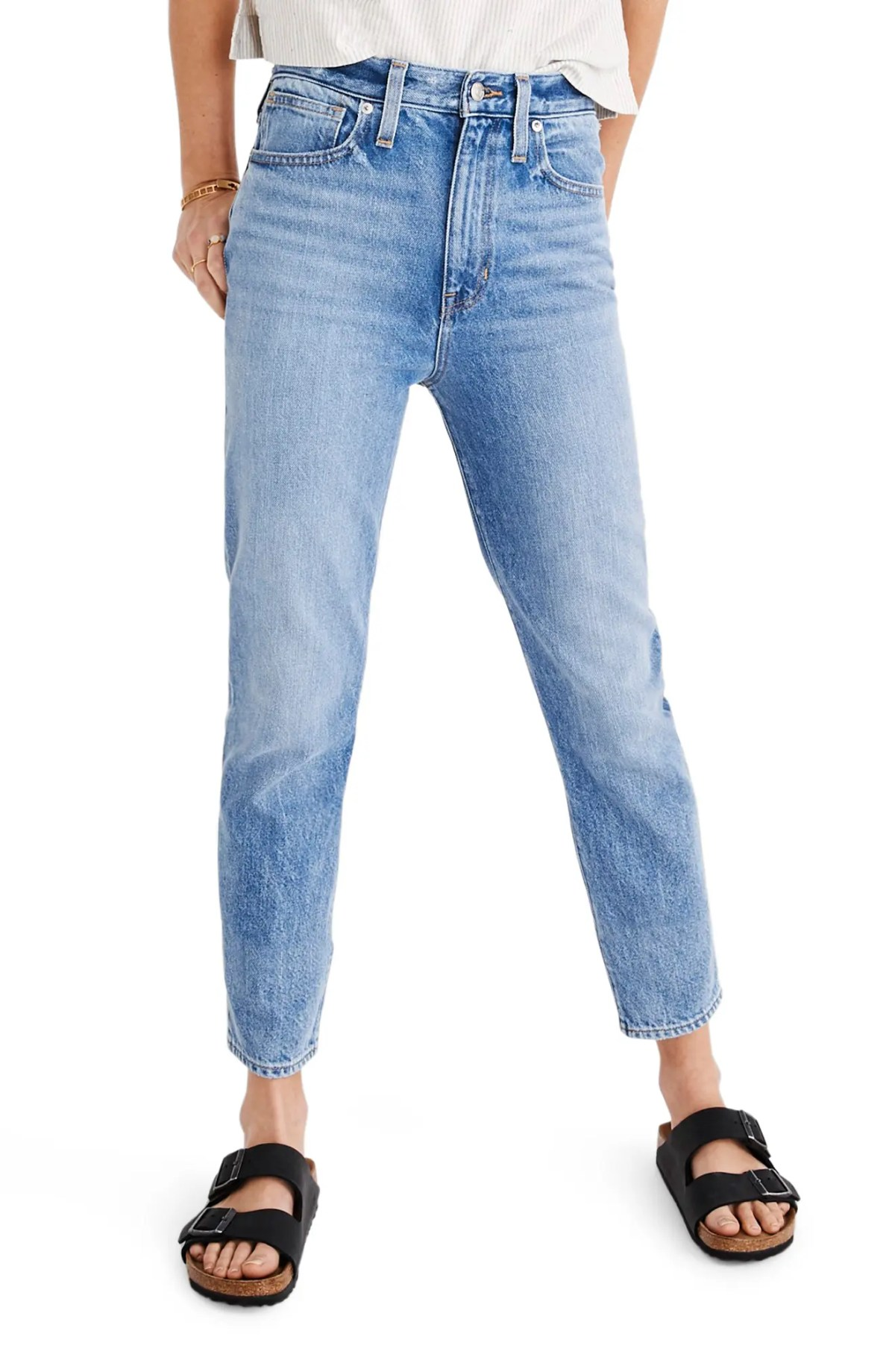 MADEWELL The Momjean High Waist Jeans, Main, color, MELVA