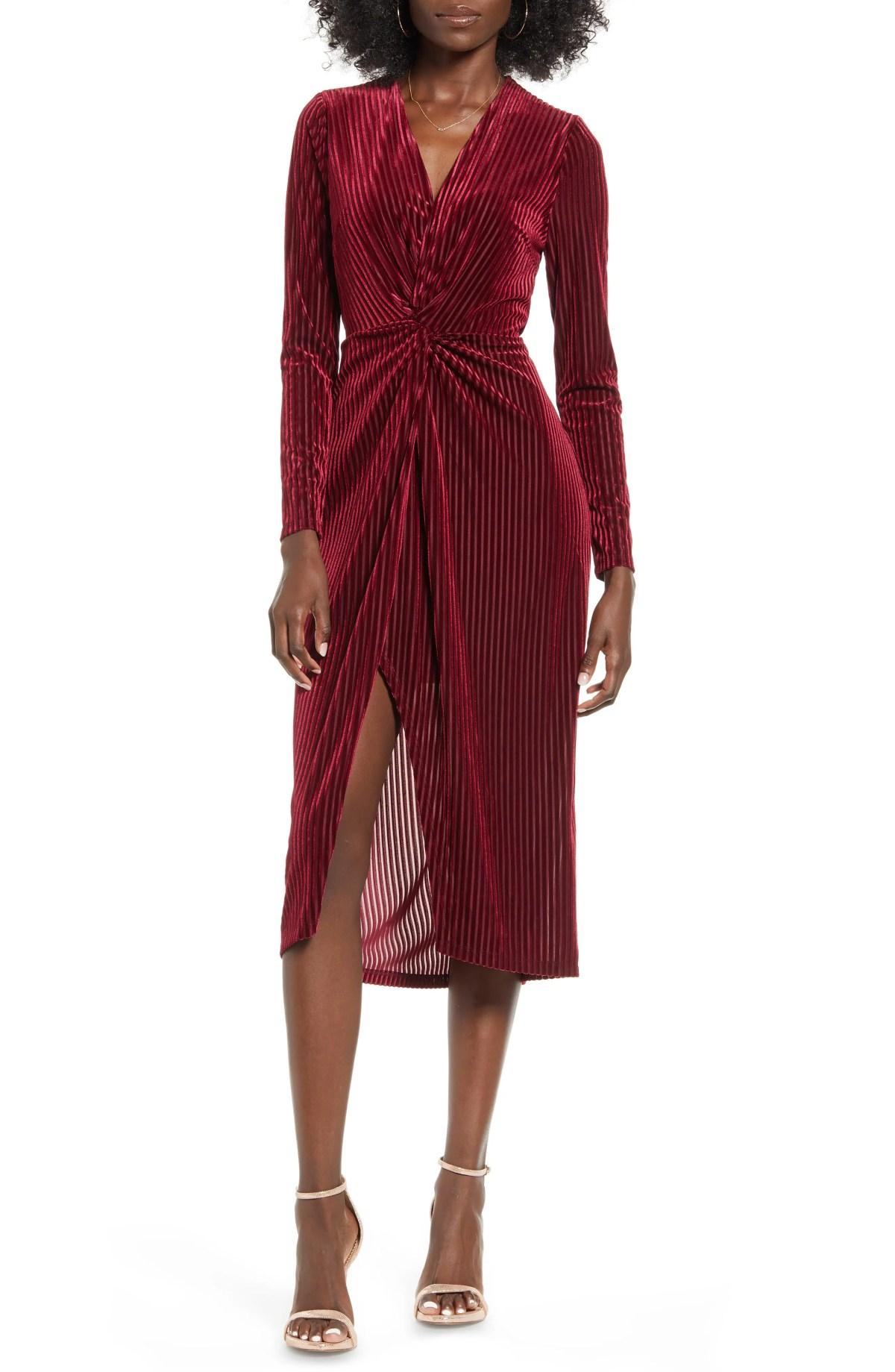 ALL IN FAVOR Knot Long Sleeve Velvet Rib Midi Dress, Main, color, BURGUNDY
