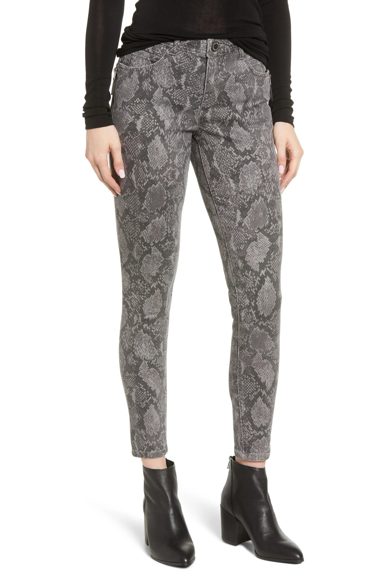 WIT & WISDOM Ab-solution Print Side Zip Ankle Skinny Jeans, Main, color, GREY