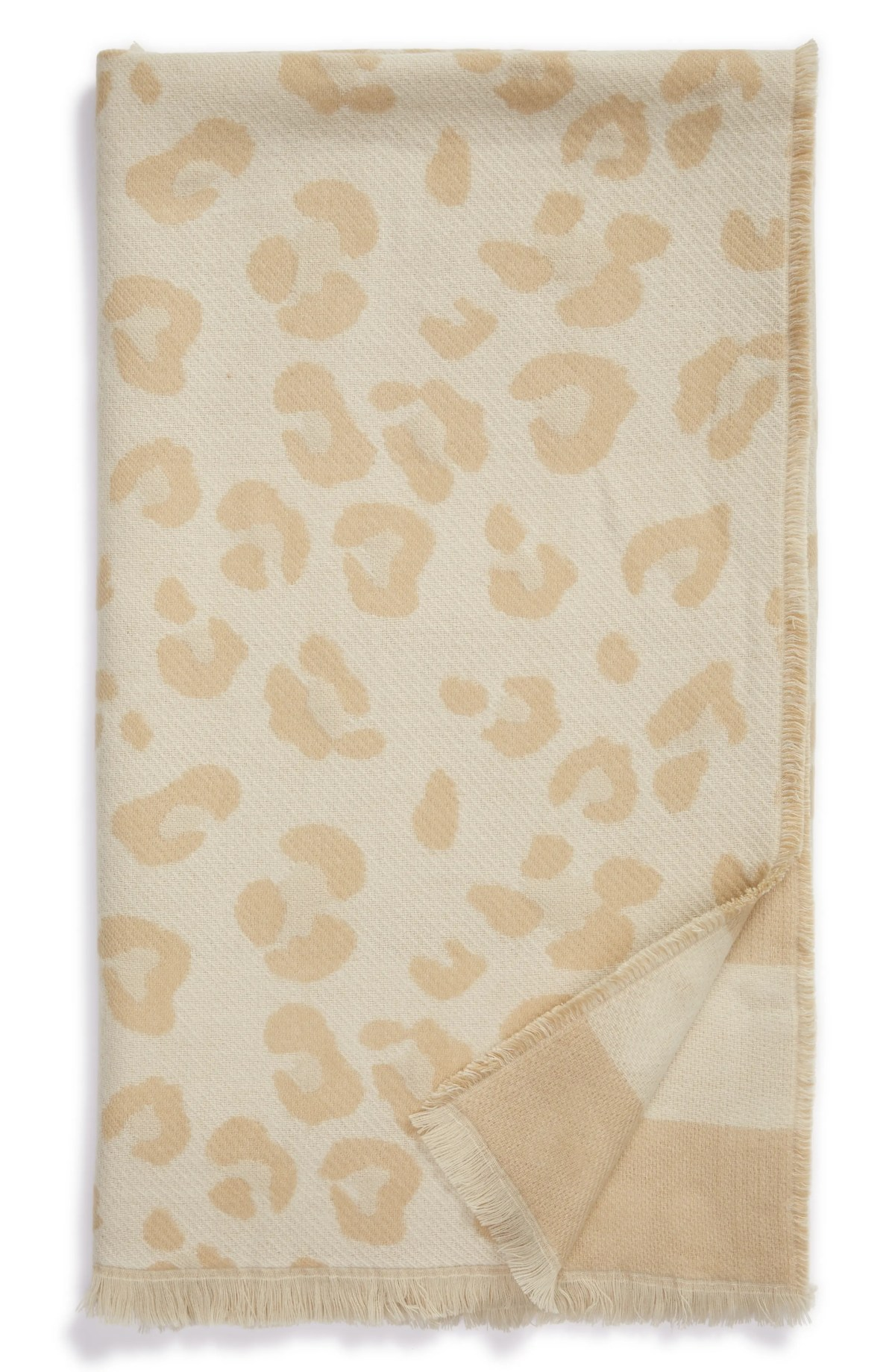 NORDSTROM Reversible Jacquard Throw Blanket, Main, color, BEIGE OATMEAL ANIMAL MULTI