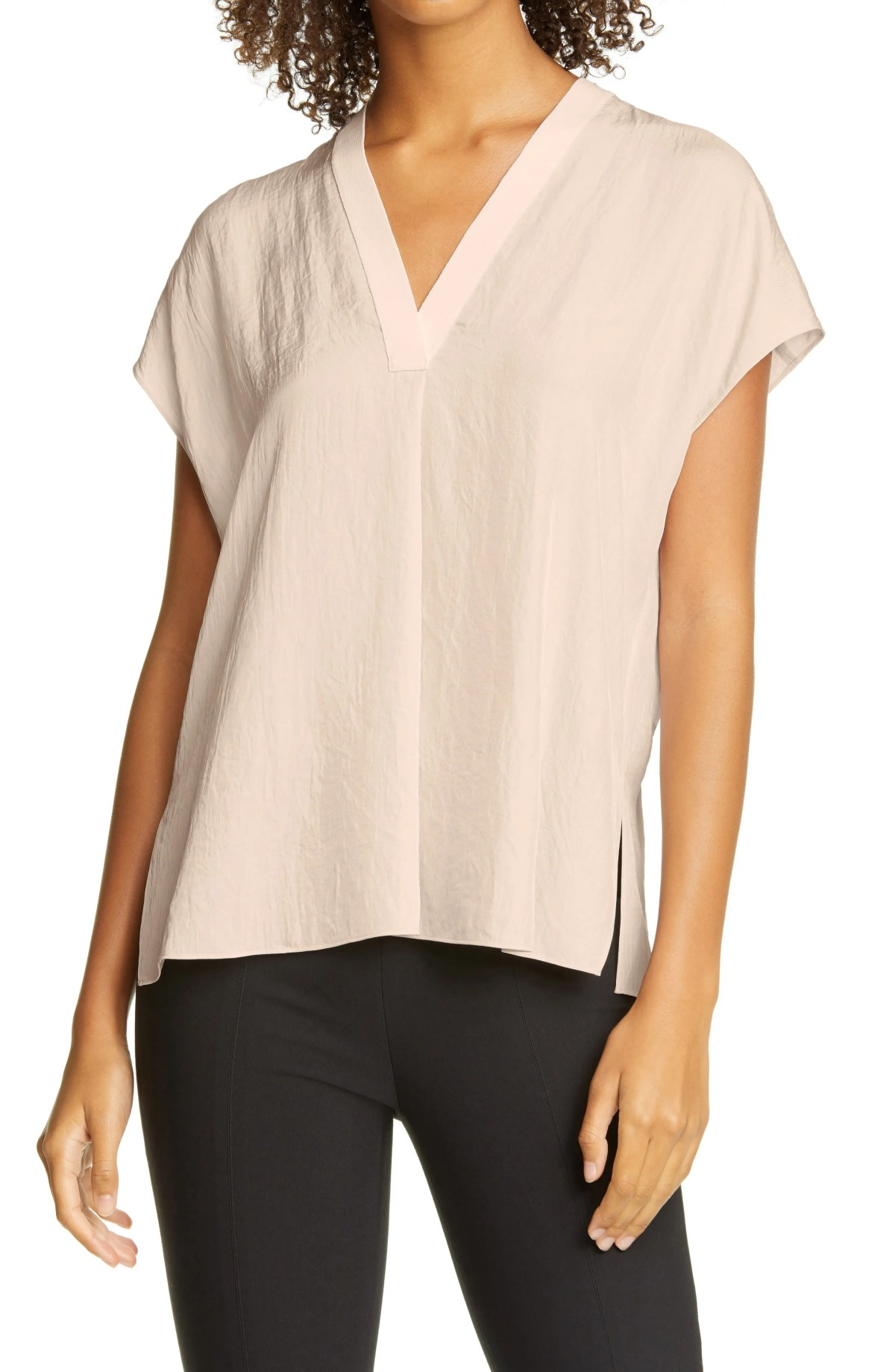 VINCE Rib Trim V-Neck Top, Main, color, CHAMPAGNE
