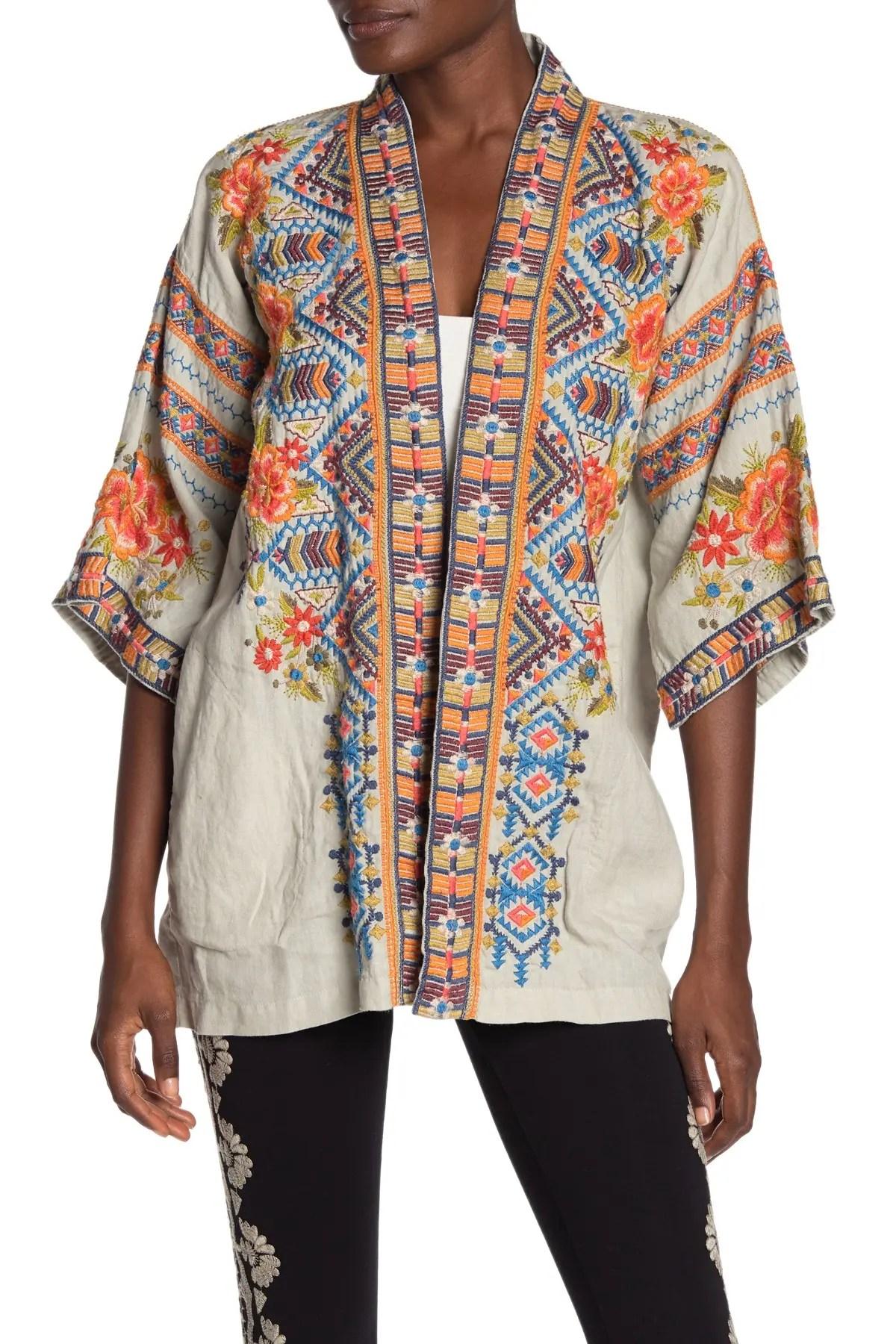 johnny was sentrie embroidered linen kimono nordstrom rack