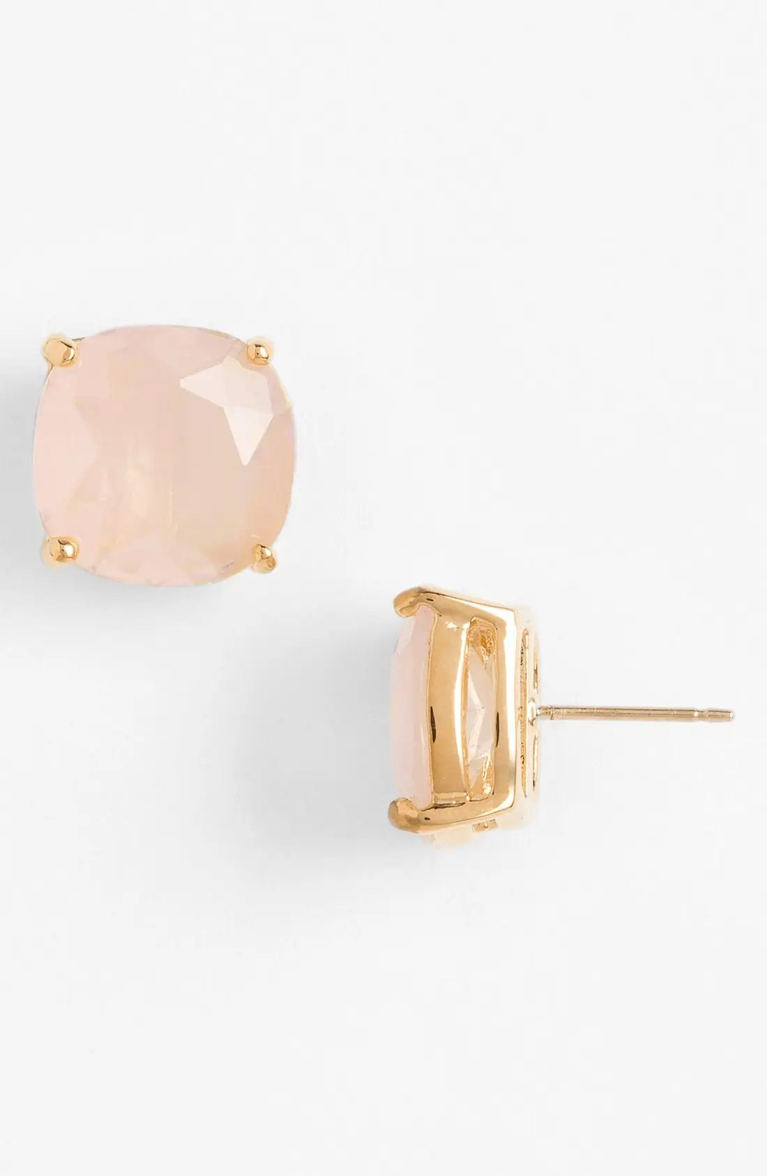 mini small square semiprecious stone stud earrings, Main, color, LIGHT PINK/ GOLD