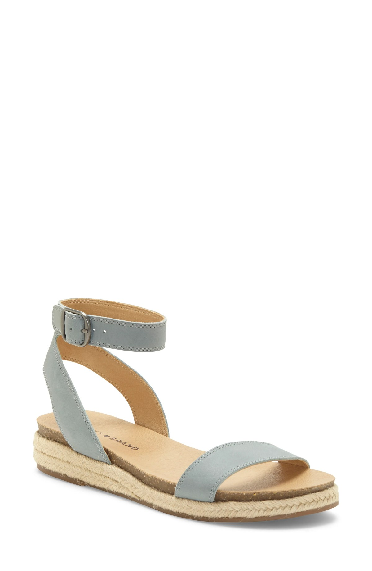 LUCKY BRAND Garston Espadrille Sandal, Main, color, LEAD LEATHER