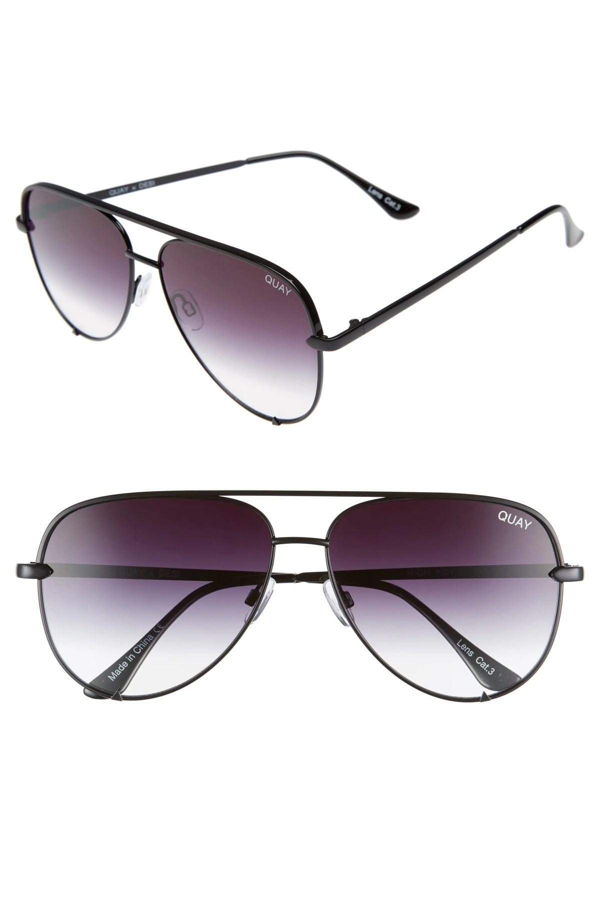 QUAY AUSTRALIA High Key 62mm Aviator Sunglasses, Main, color, BLACK FADE TO CLEAR
