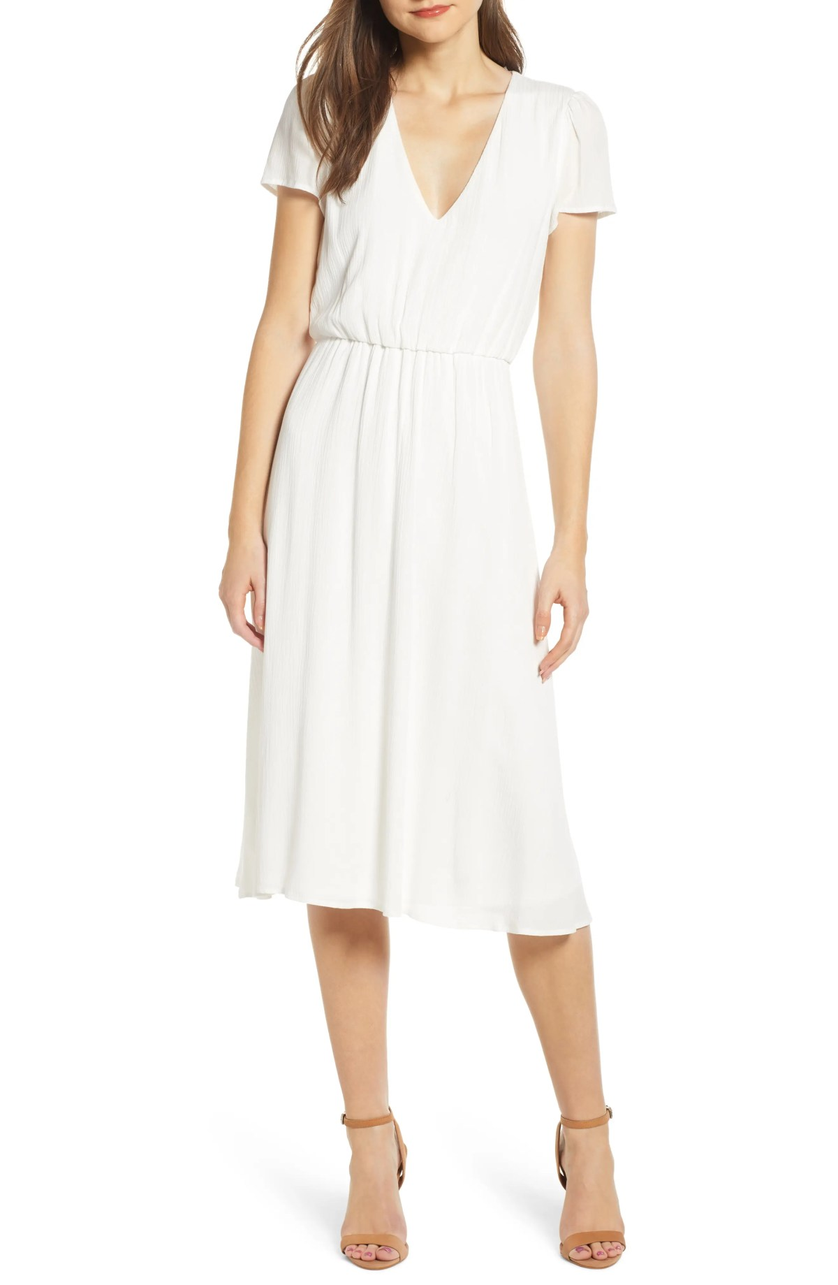 Blouson Midi Dress, Main, color, WHITE