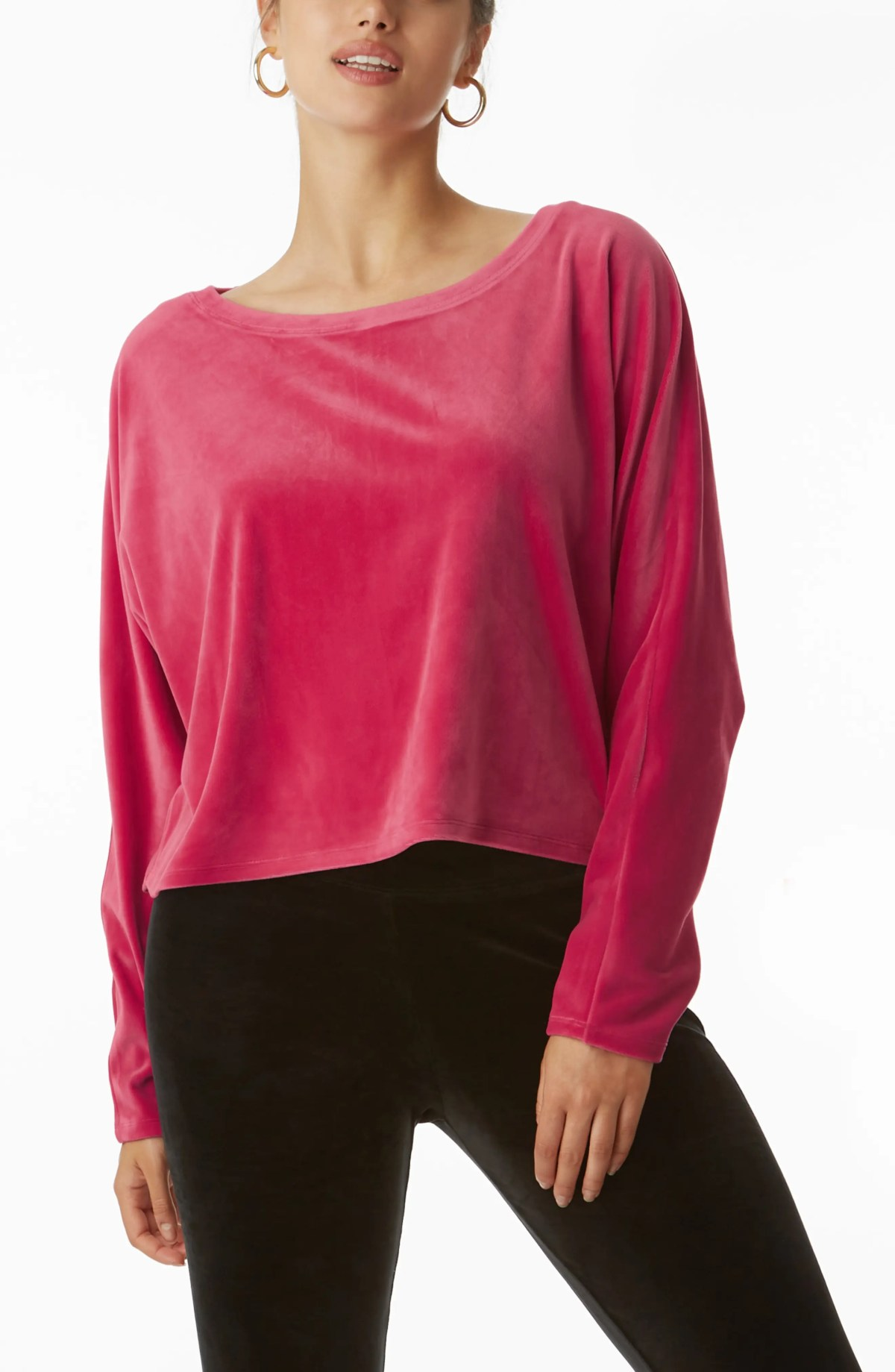 JUICY COUTURE Stretch Velvet Dolman Sleeve Top, Main, color, PINK PARTY