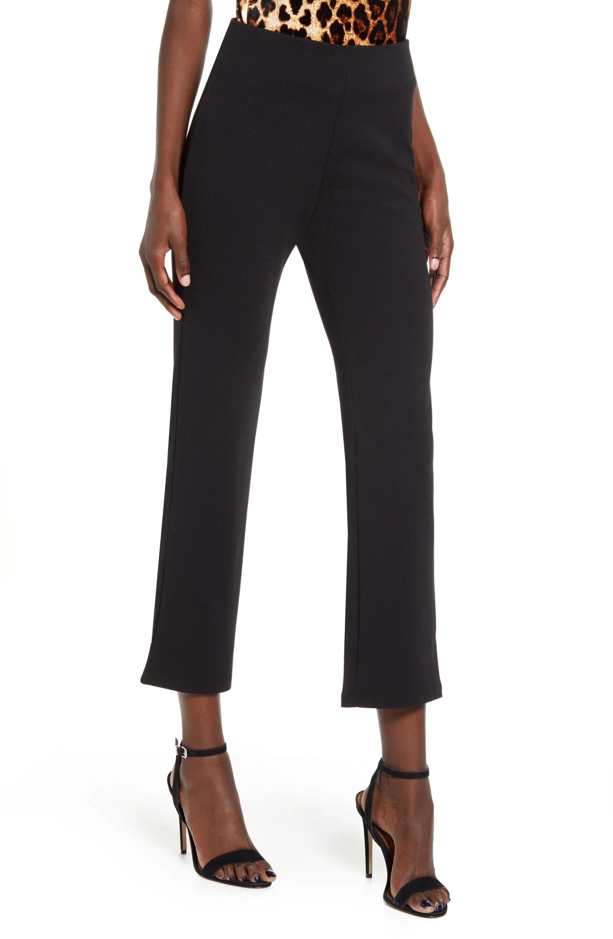 LEITH High Waist Slim Pants, Main, color, BLACK