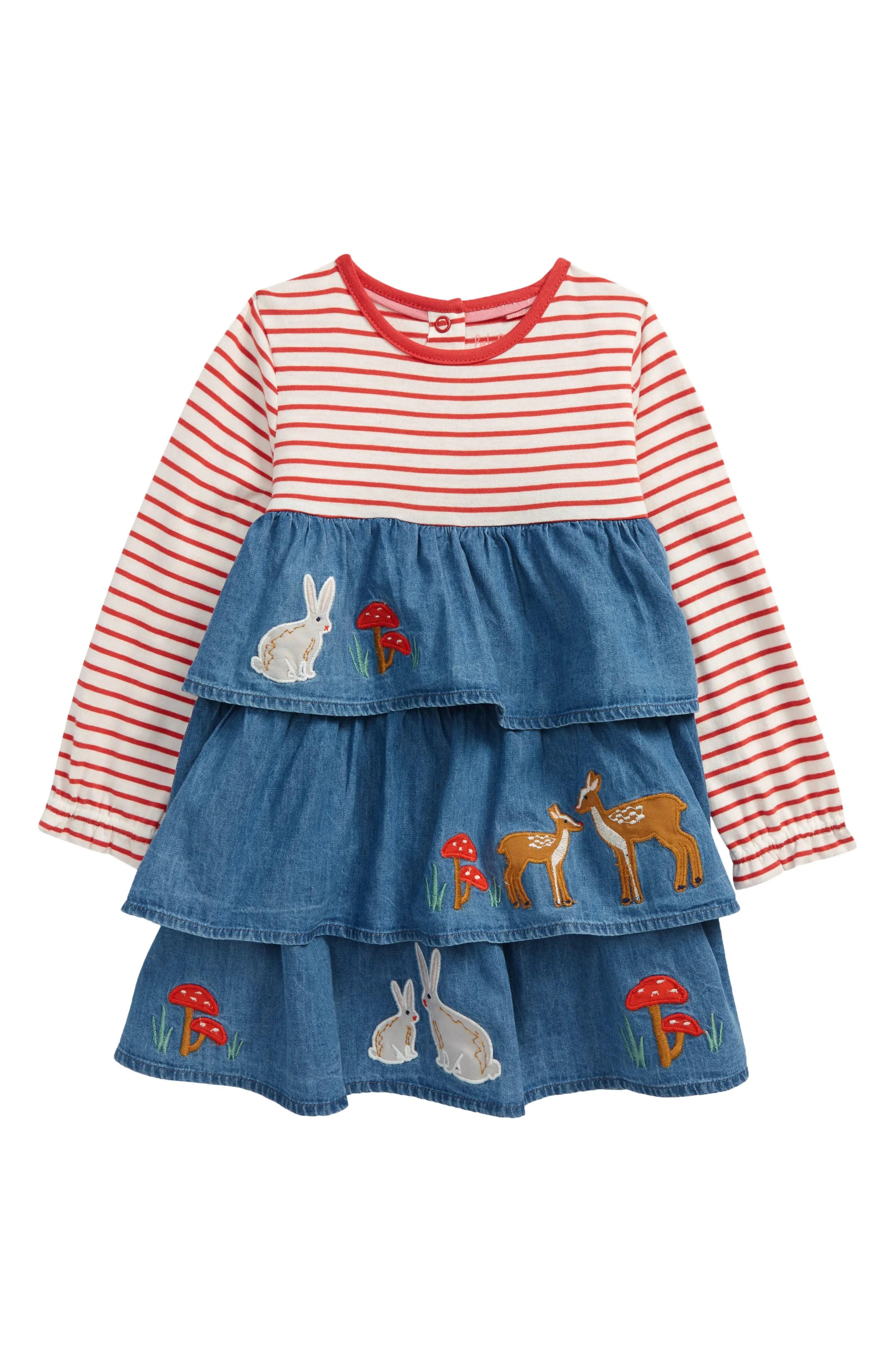 mini boden stripe applique tiered chambray dress nordstrom rack
