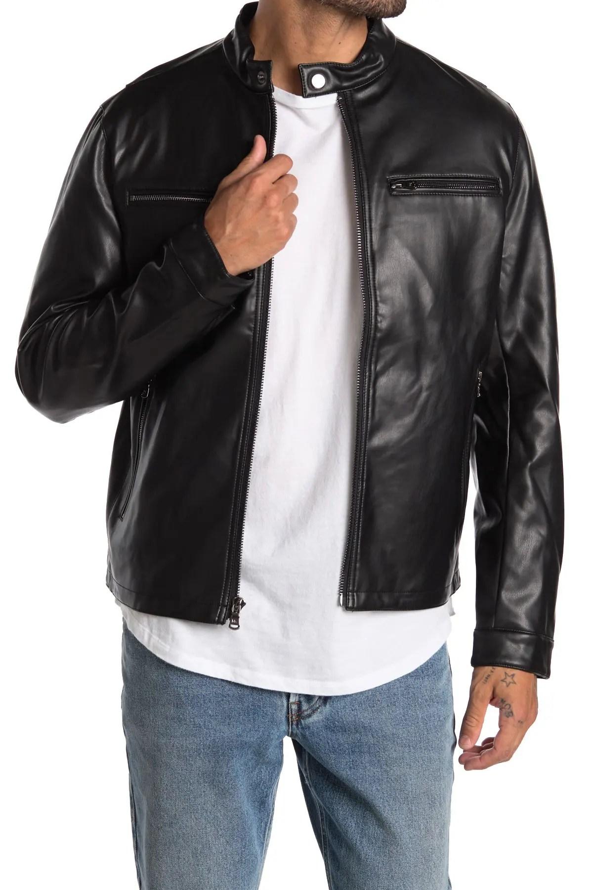 michael kors faux leather moto jacket
