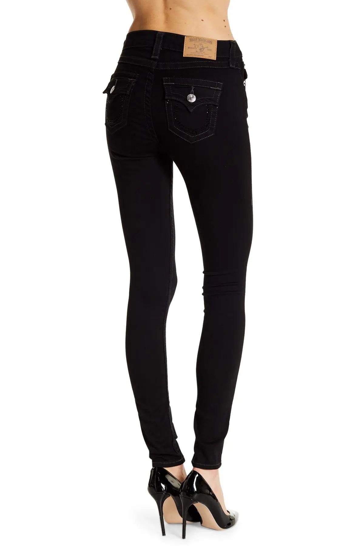 flap pocket super skinny jeans