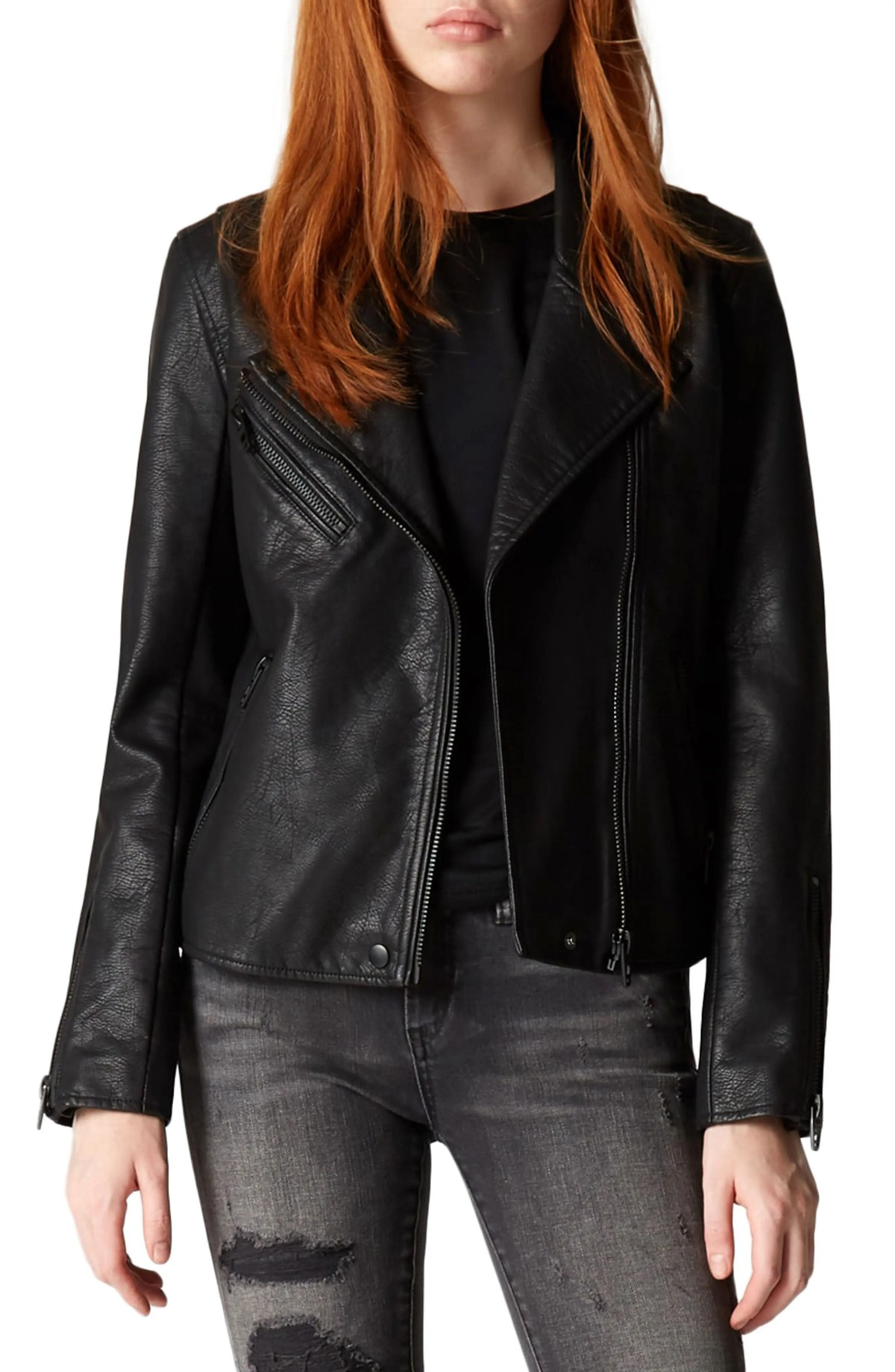 BLANKNYC Faux Leather Moto Jacket, Main, color, ONYX