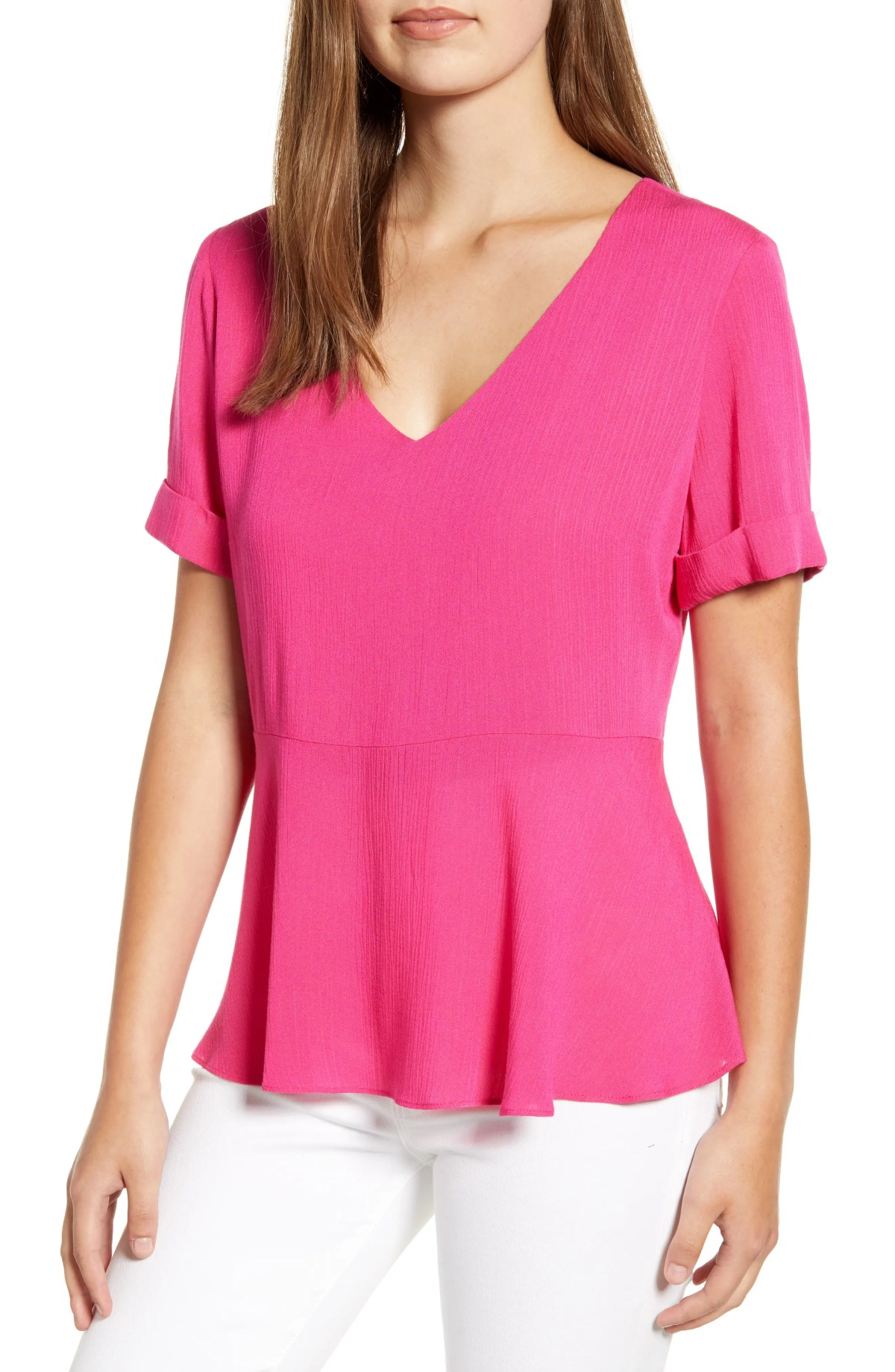 x The Motherchic Sonoma V-Neck Woven Peplum Top, Main, color, POP PINK COLOR