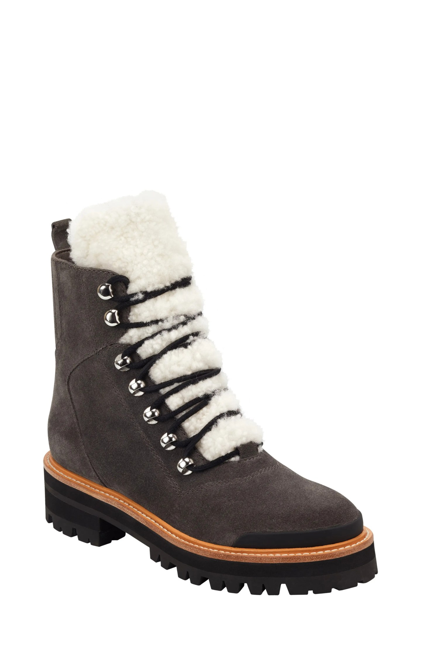 MARC FISHER LTD Izzie Genuine Shearling Lace-Up Boot, Main, color, GRAY SUEDE