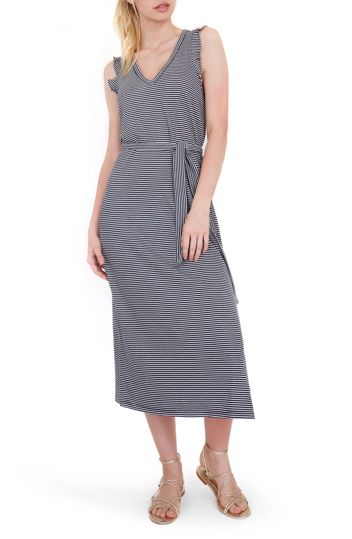 PAIGE Ravyn Stripe Sleeveless Midi Dress, Main, color, NAVY/ WHITE STRIPE