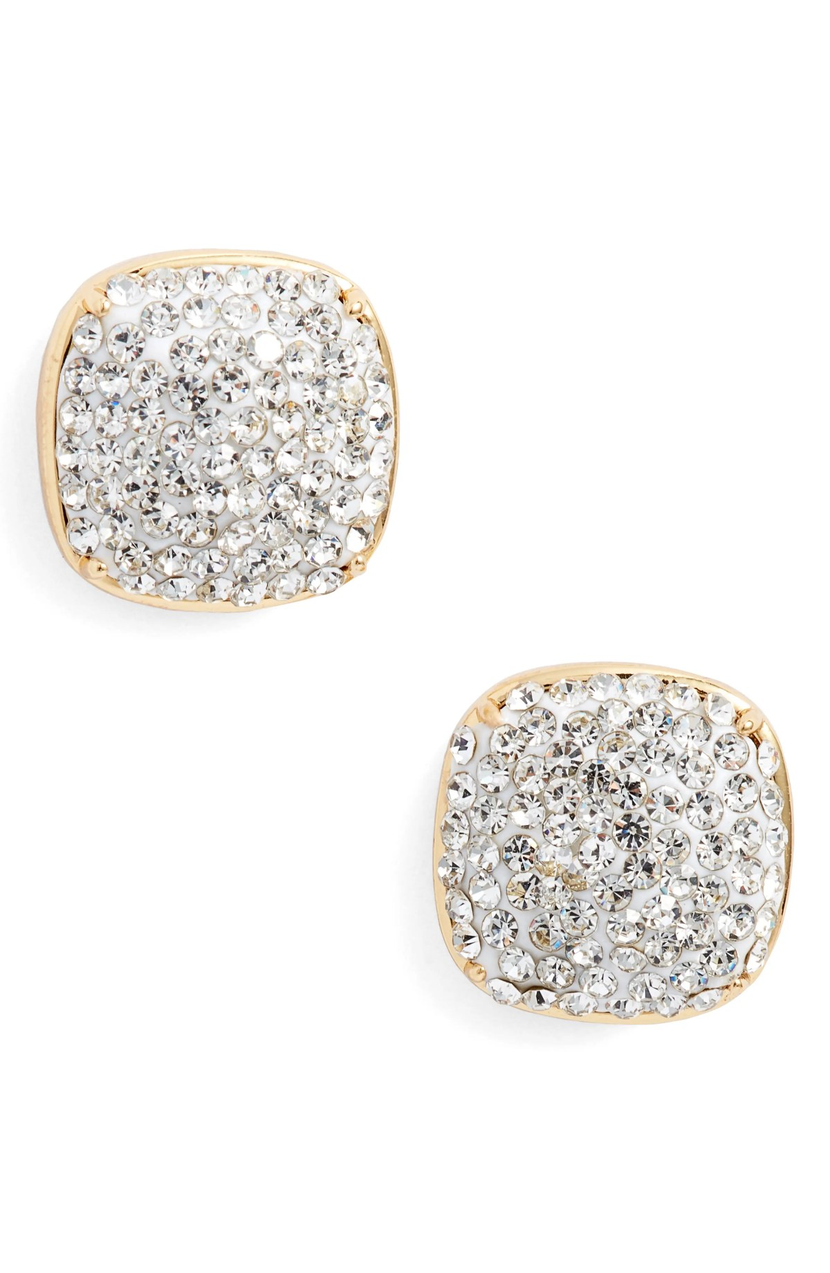 KATE SPADE NEW YORK pavé small square stud earrings, Main, color, CLEAR