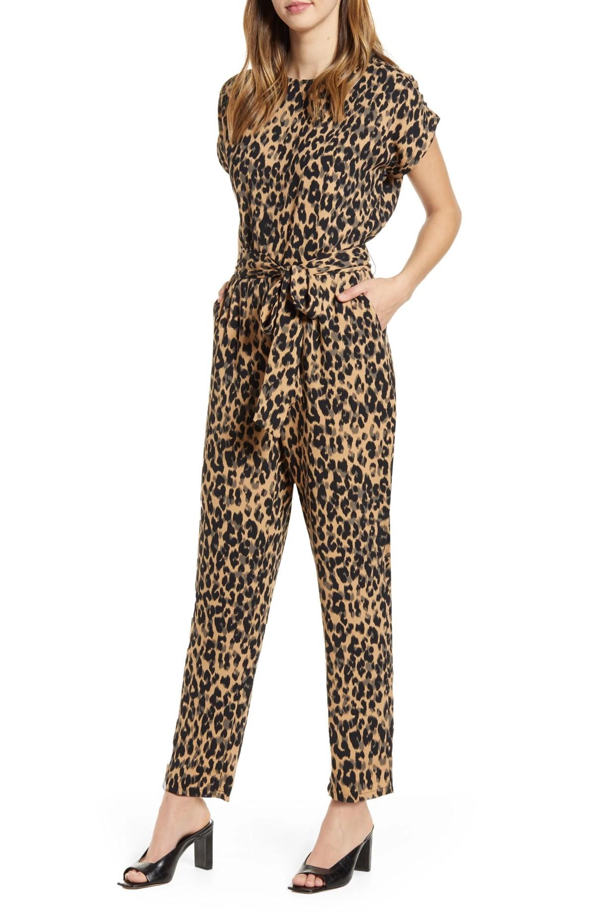 HALOGEN<SUP>®</SUP> Short Sleeve Jumpsuit, Main, color, TAUPE ANIMALIA PRINT