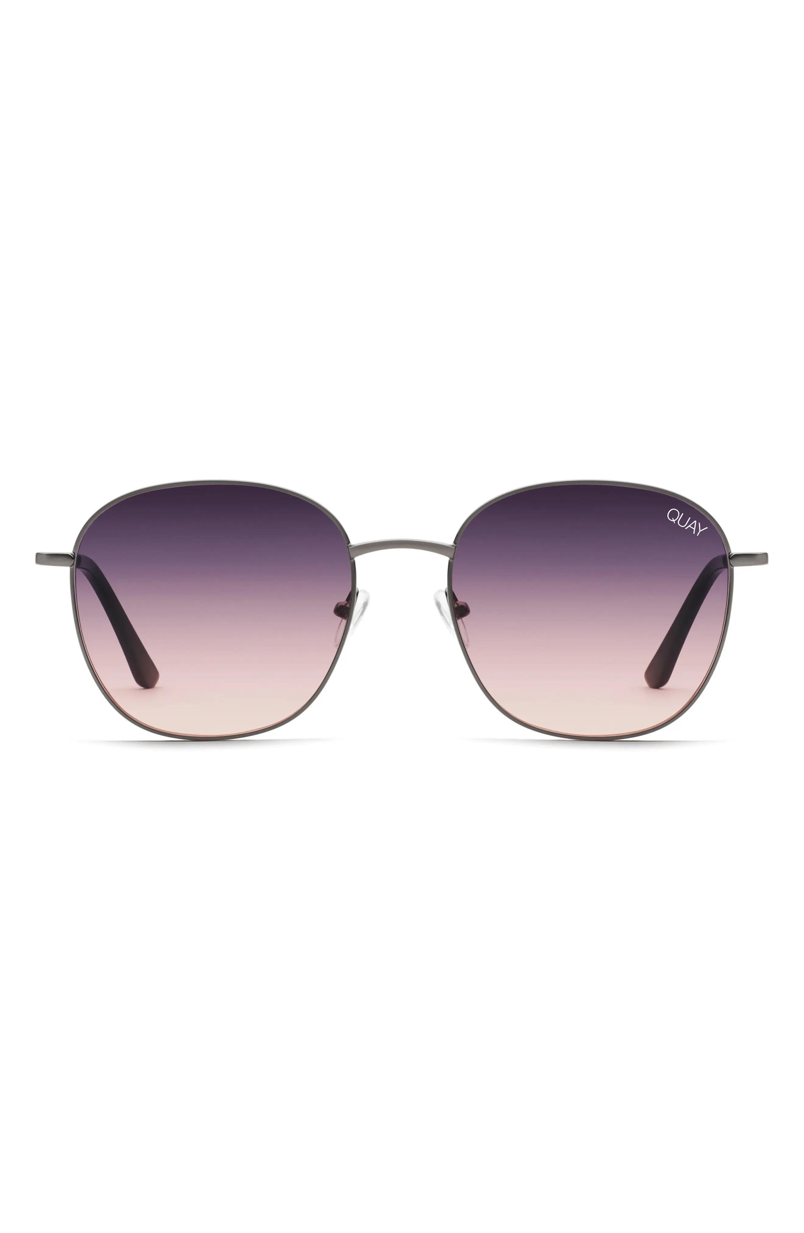 QUAY AUSTRALIA Jezabell 57mm Round Sunglasses, Main, color, GUN/ NAVY PEACH