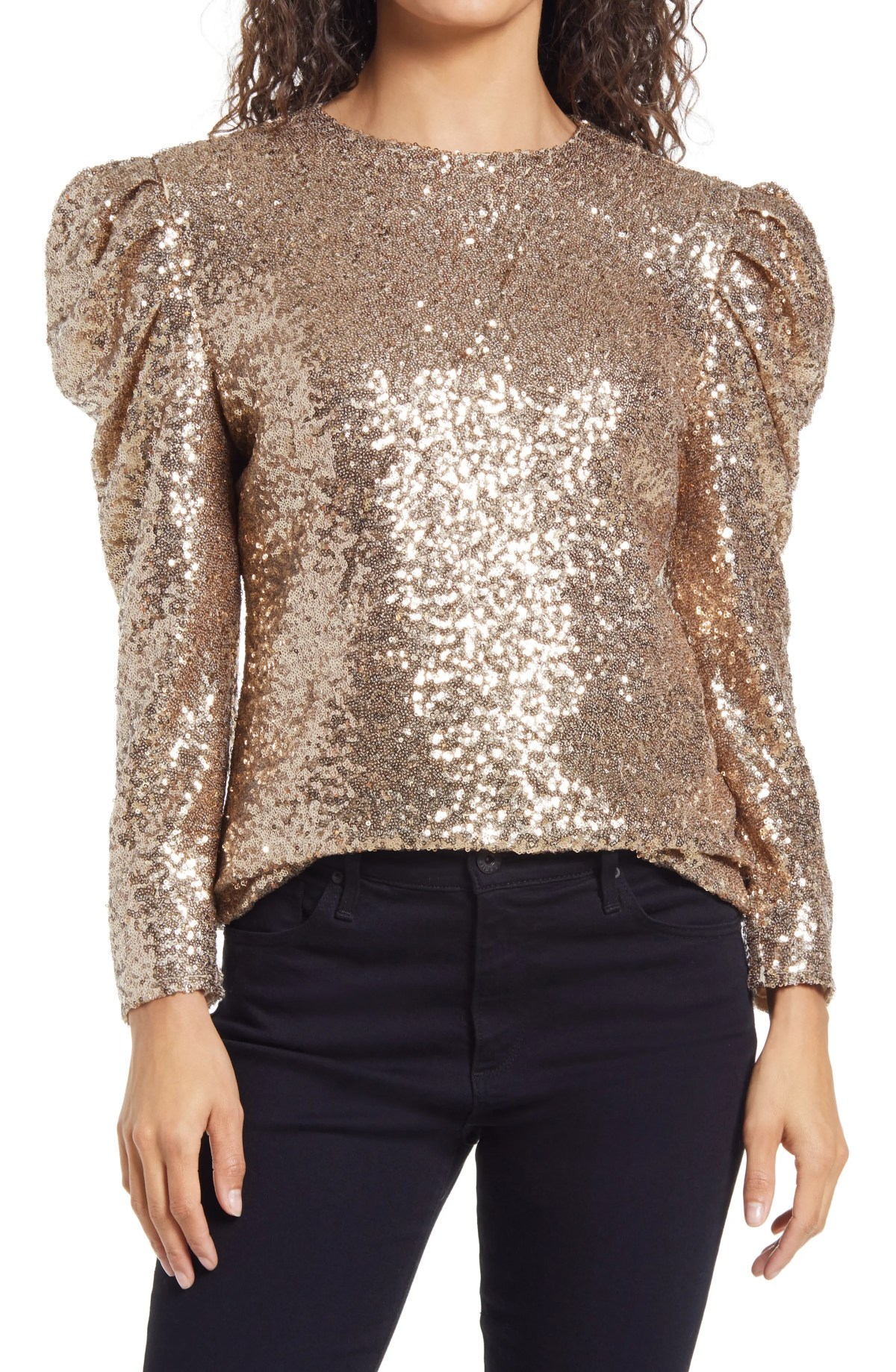 RACHEL PARCELL Rachel Parcel Sequin Puff Shoulder Top, Main, color, GOLD