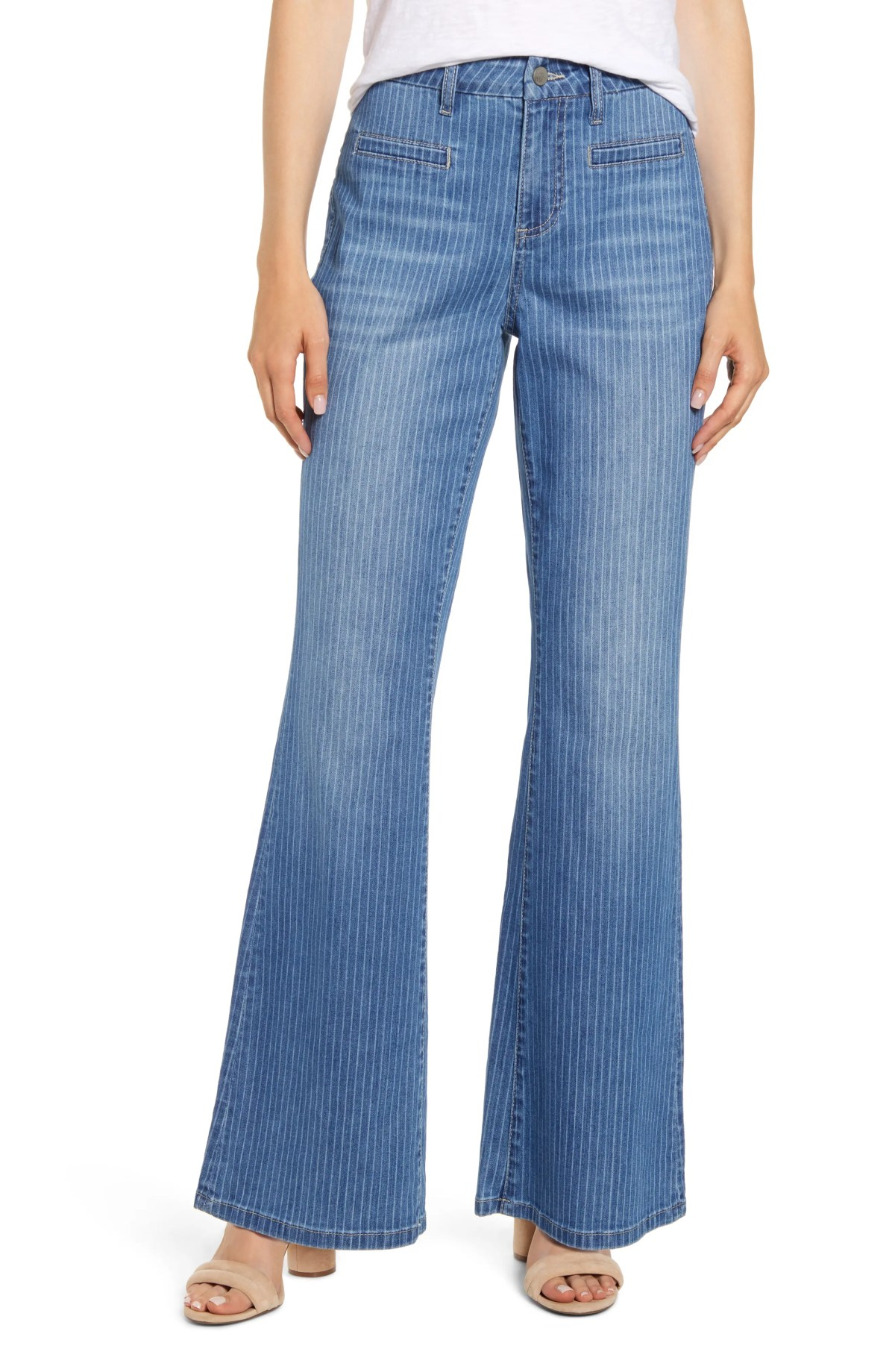 WASH LAB Pinstripe Flare Leg Jeans, Main, color, BLUE SKY STRIPE