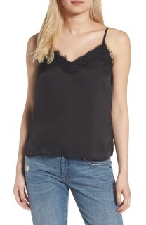 Lace Trim Satin Camisole Top, Main, color, BLACK