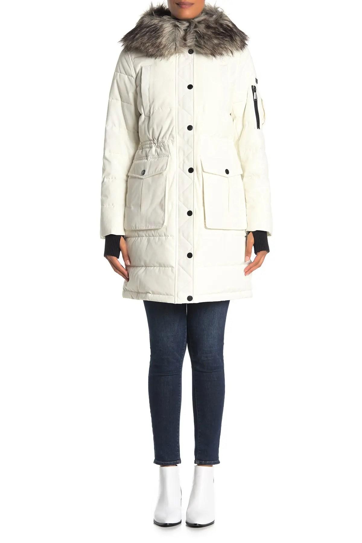 bcbg faux fur trim hooded quilted jacket nordstrom rack