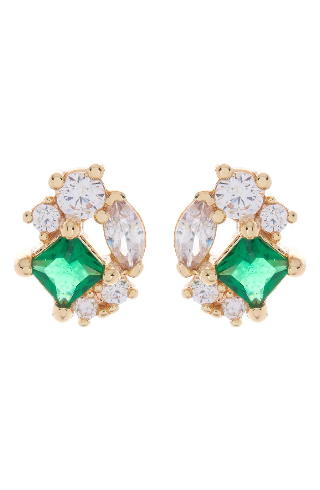 nordstrom rack cz cluster emerald glass stud earrings nordstrom rack