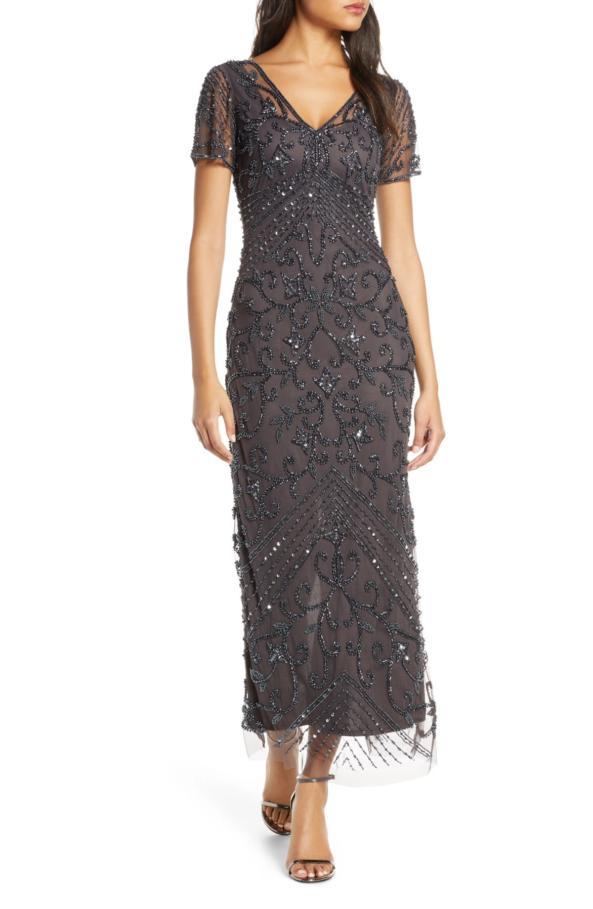 PISARRO NIGHTS Beaded Longline Gown, Main, color, SLATE