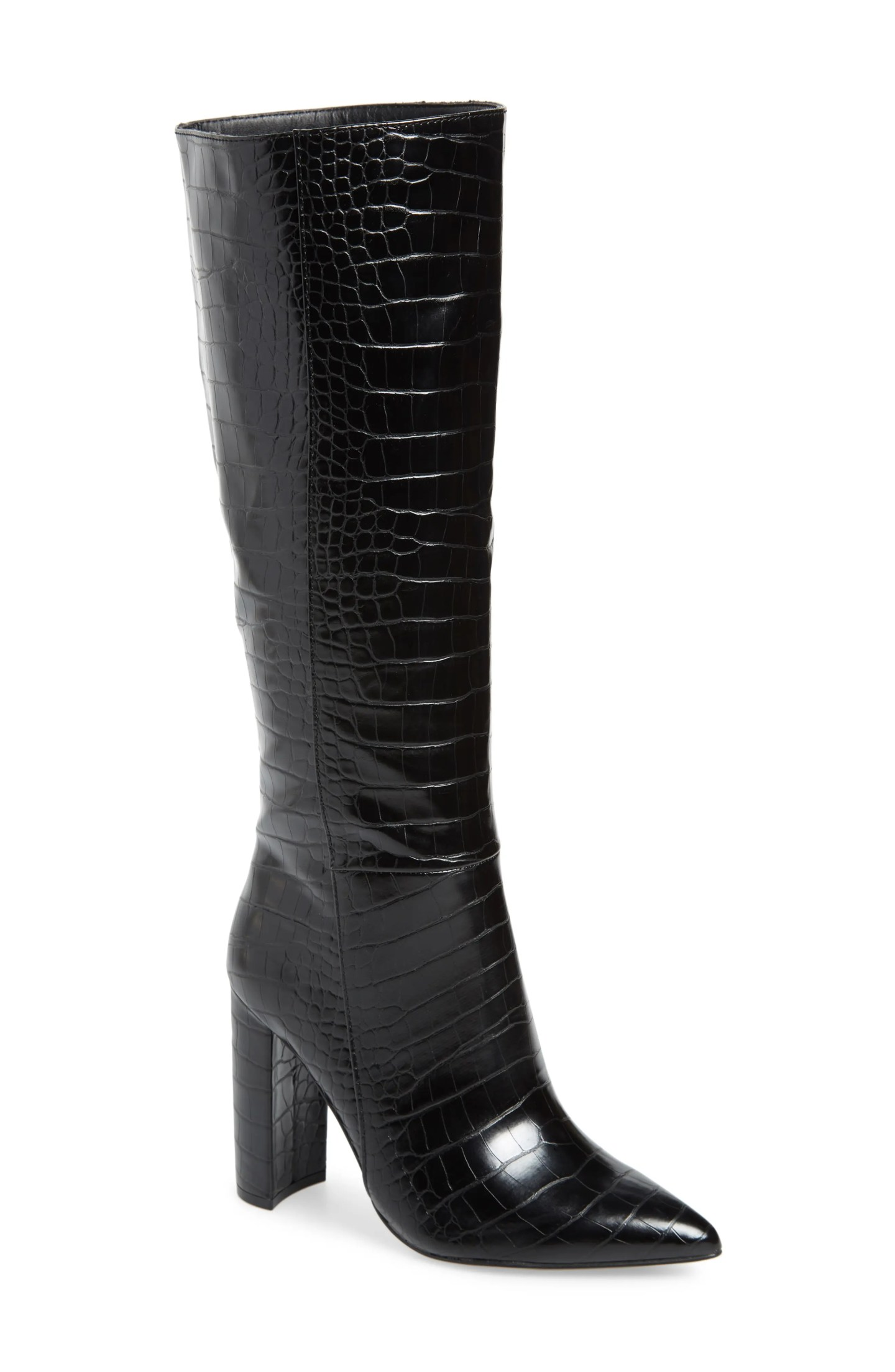 STEVE MADDEN Triumph Knee High Boot, Main, color, BLACK CROCO