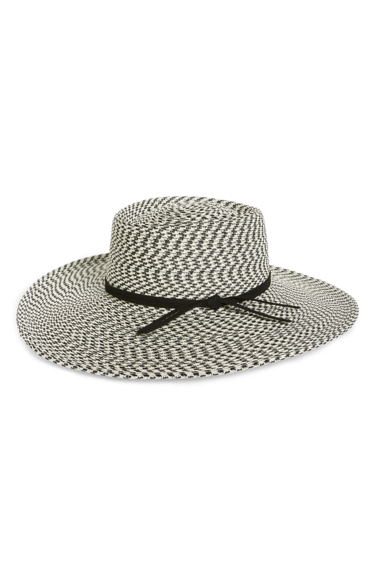 Two-Tone Straw Boater Hat, Main, color, BLACK COMBO