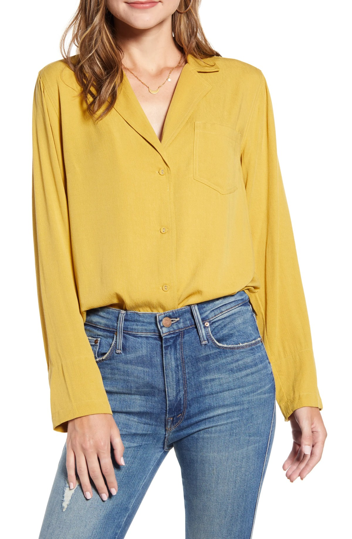 THE ODELLS Relaxed Button-Up Shirt, Main, color, CUMIN