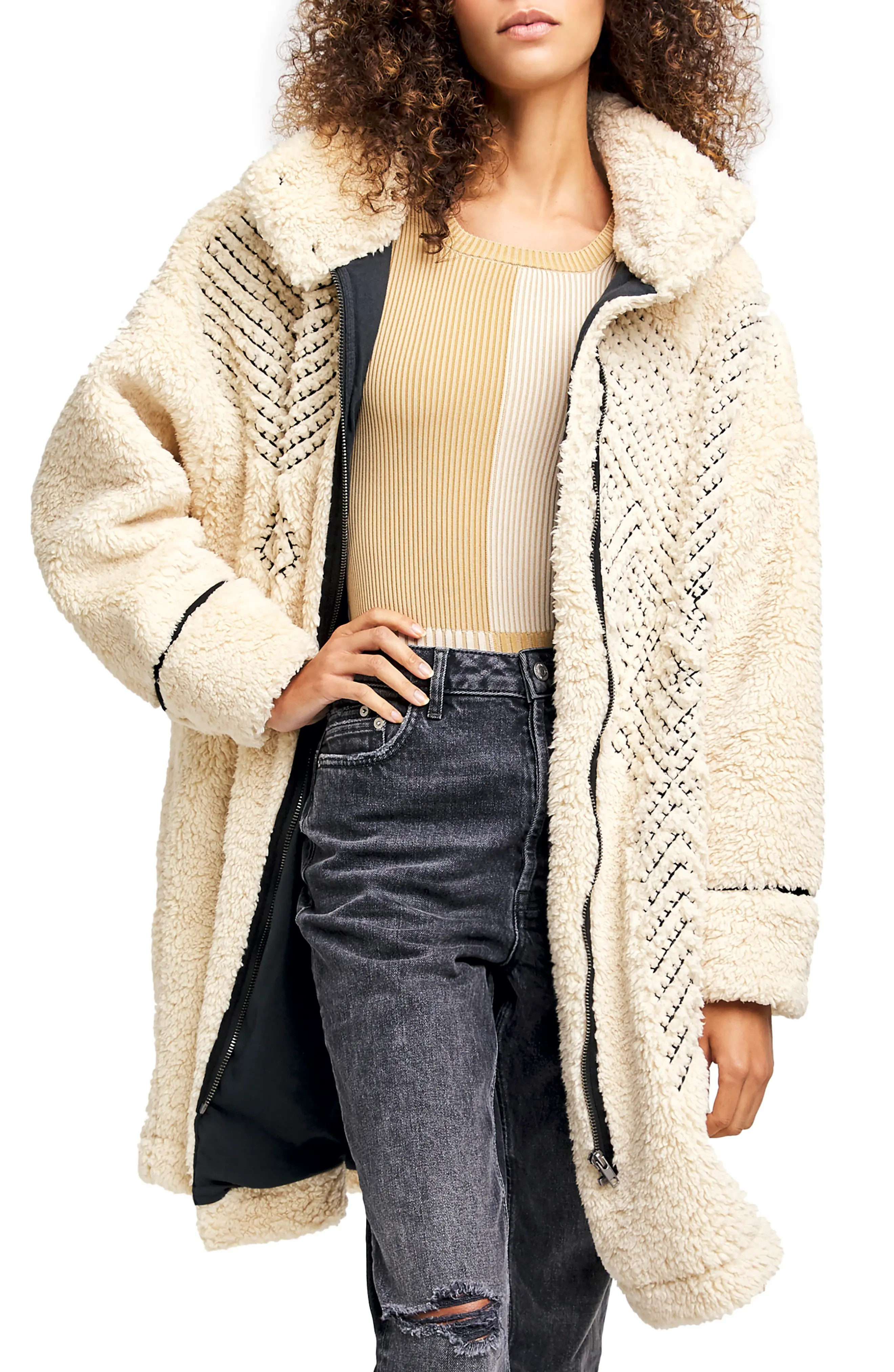 avery embroidered teddy coat
