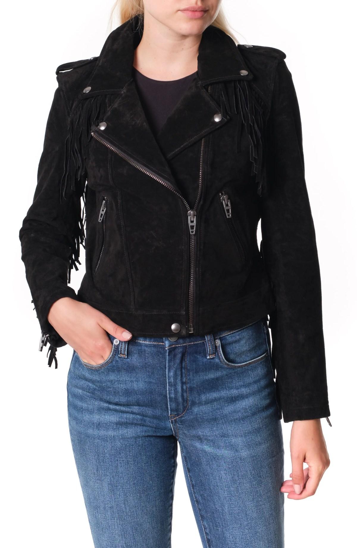 BLANKNYC Fringe Trim Suede Moto Jacket, Main, color, BLACK