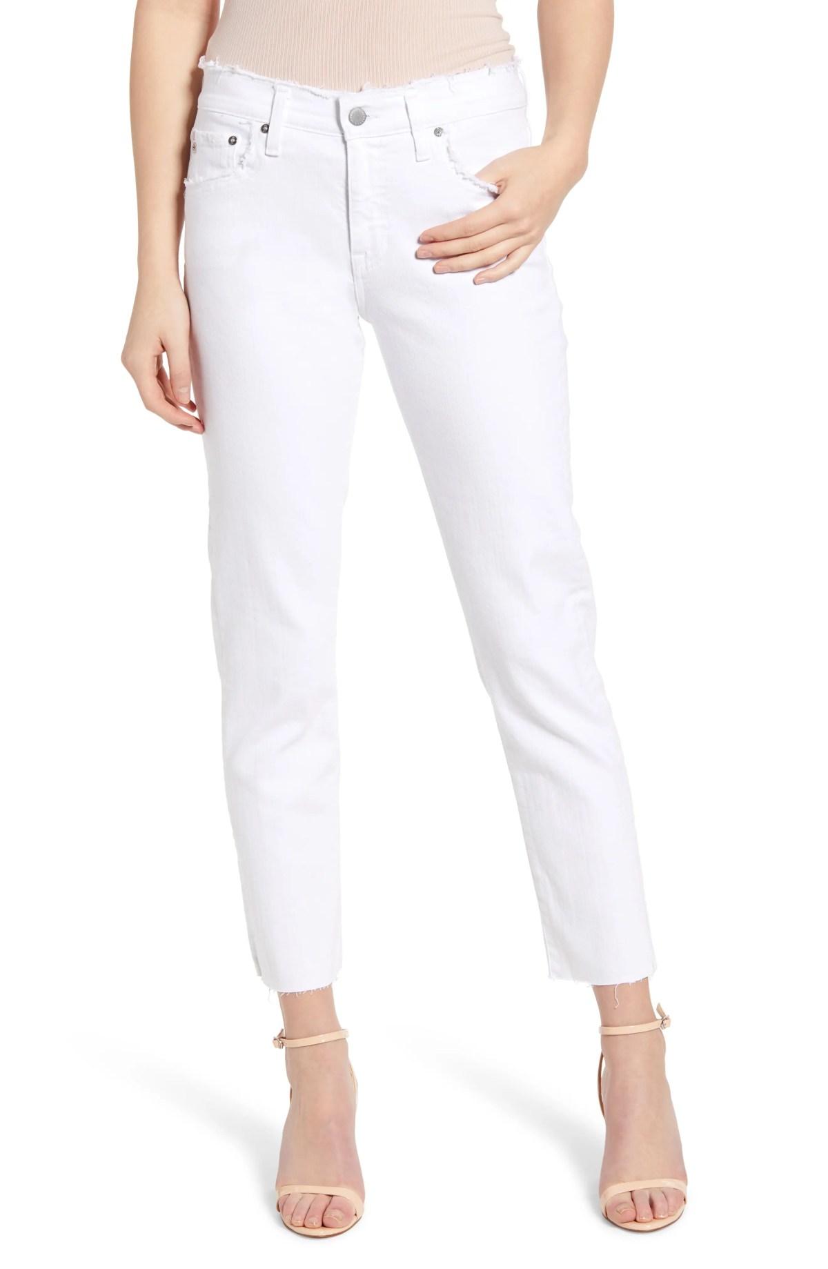 AG The Ex-Boyfriend Distressed Slim Jeans, Main, color, RETRO WHITE