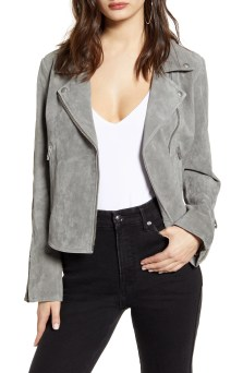 Next Level Suede Moto Jacket, Main, color, SOFT FOG