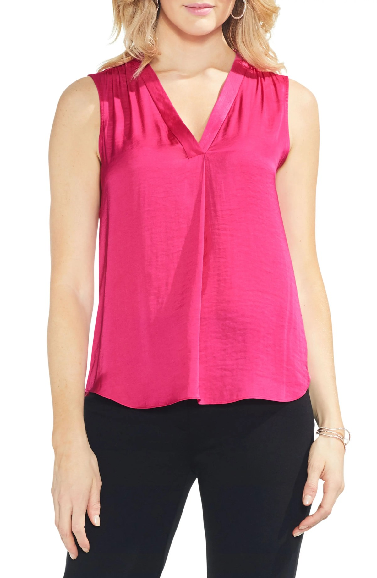 Rumpled Satin Blouse, Main, color, NEW PINK FLAME